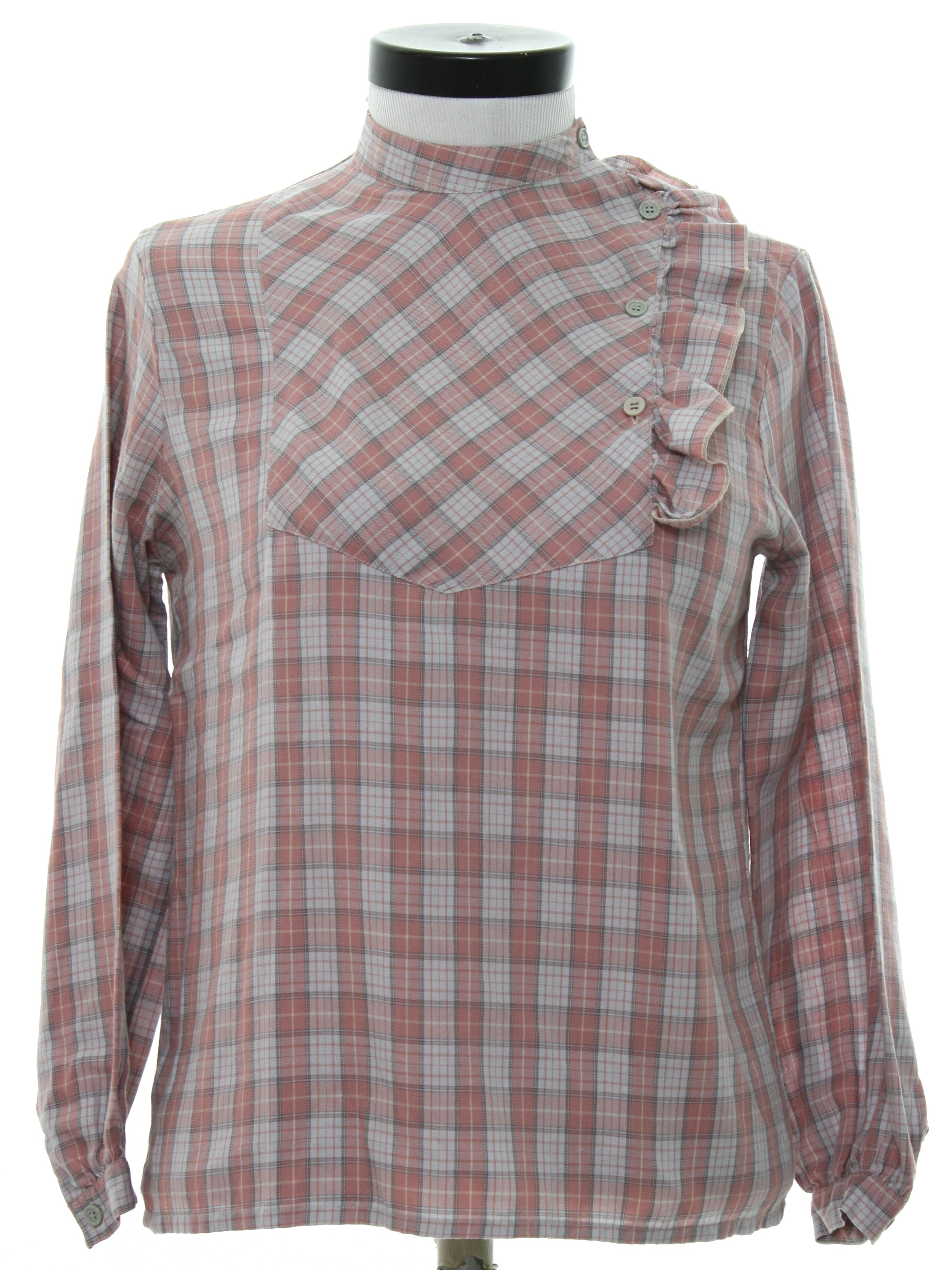 Retro 1980 39 s shirt laurent s cyr 80s laurent s cyr for Polyester lined flannel shirts
