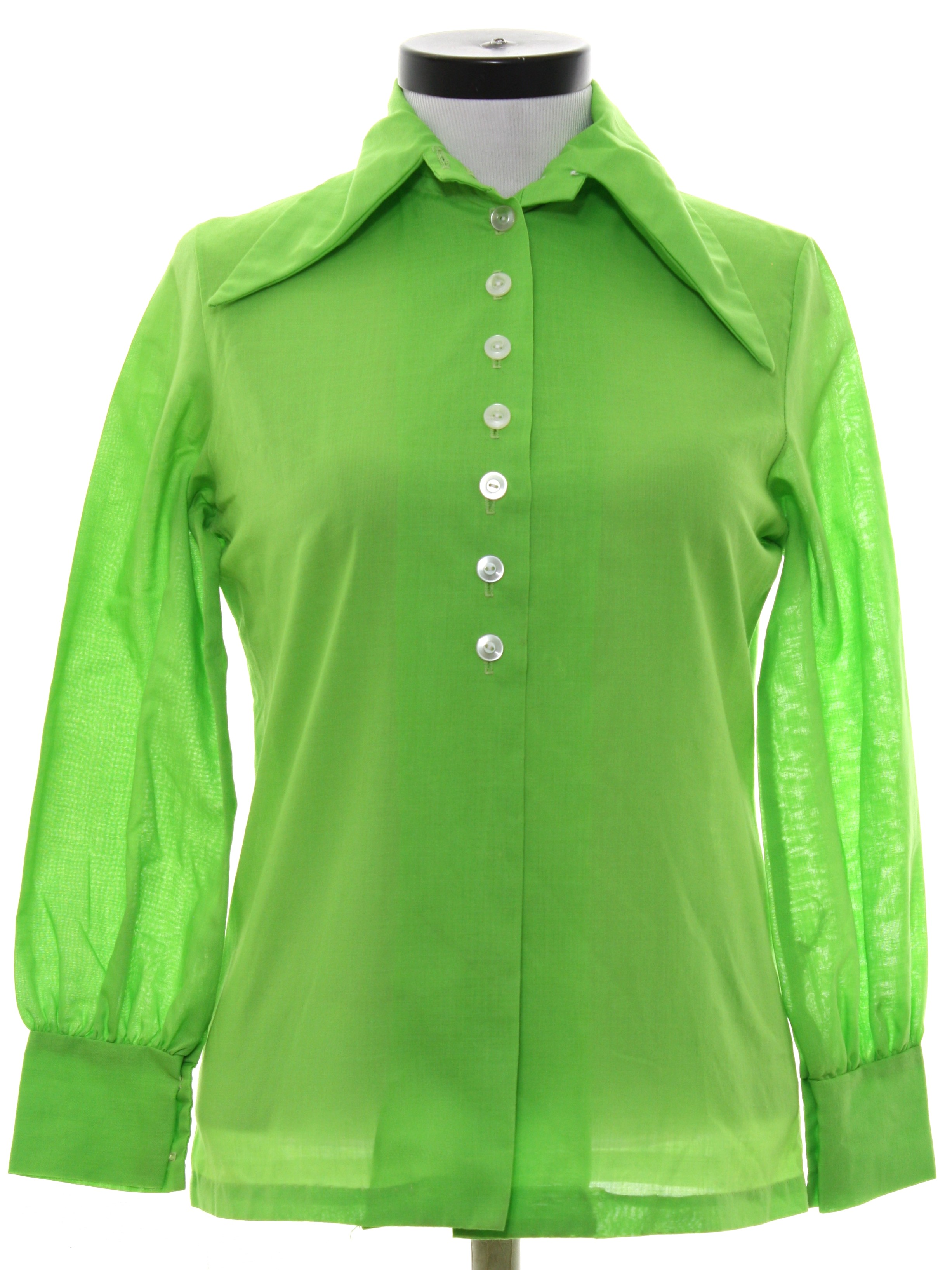 Retro 1970 39 s shirt 70s no label womens bright lime for Solid color button up shirts