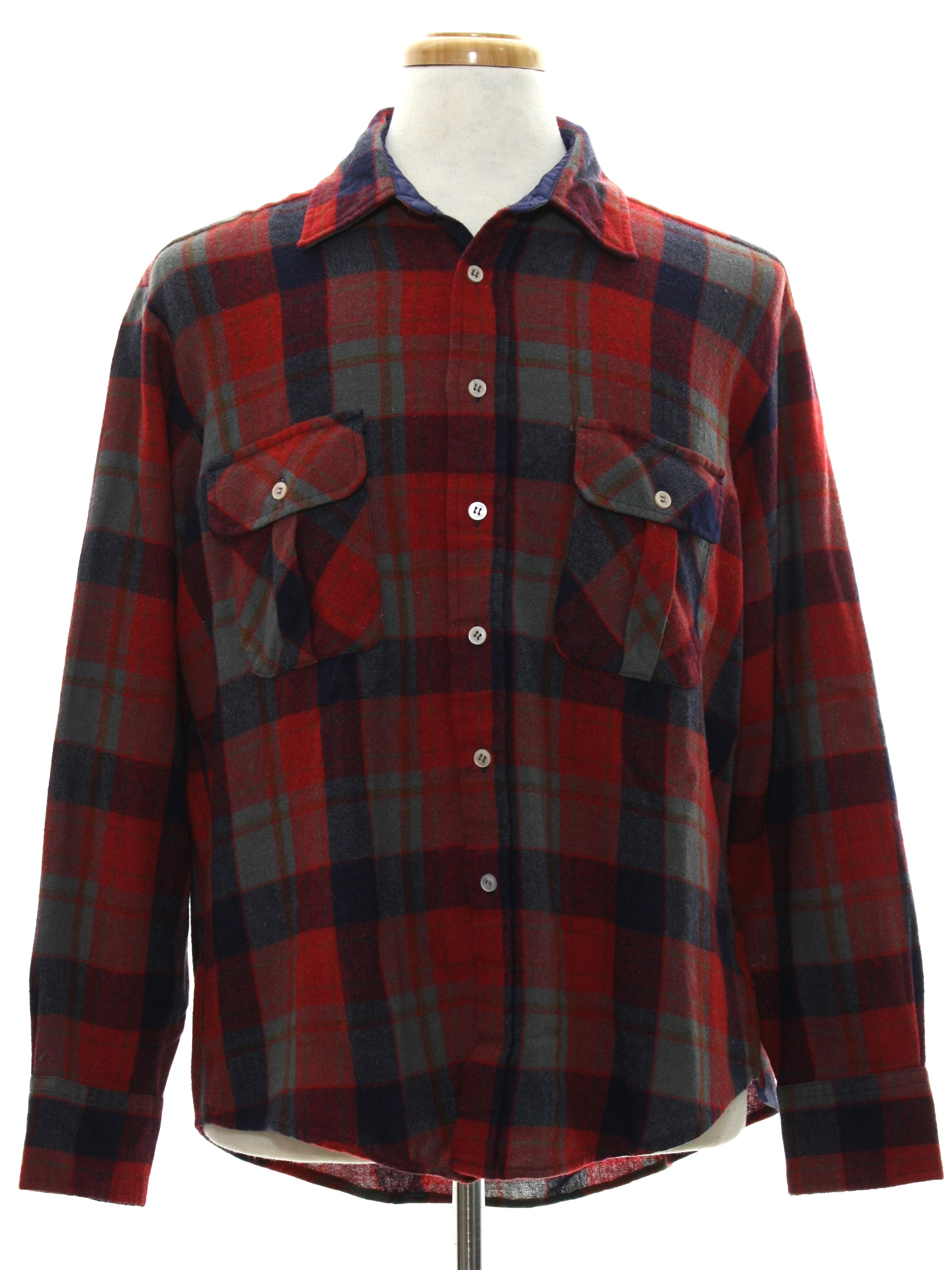 Retro 80 39 s shirt 80s masterpiece apparel mens red for Navy blue and red flannel shirt