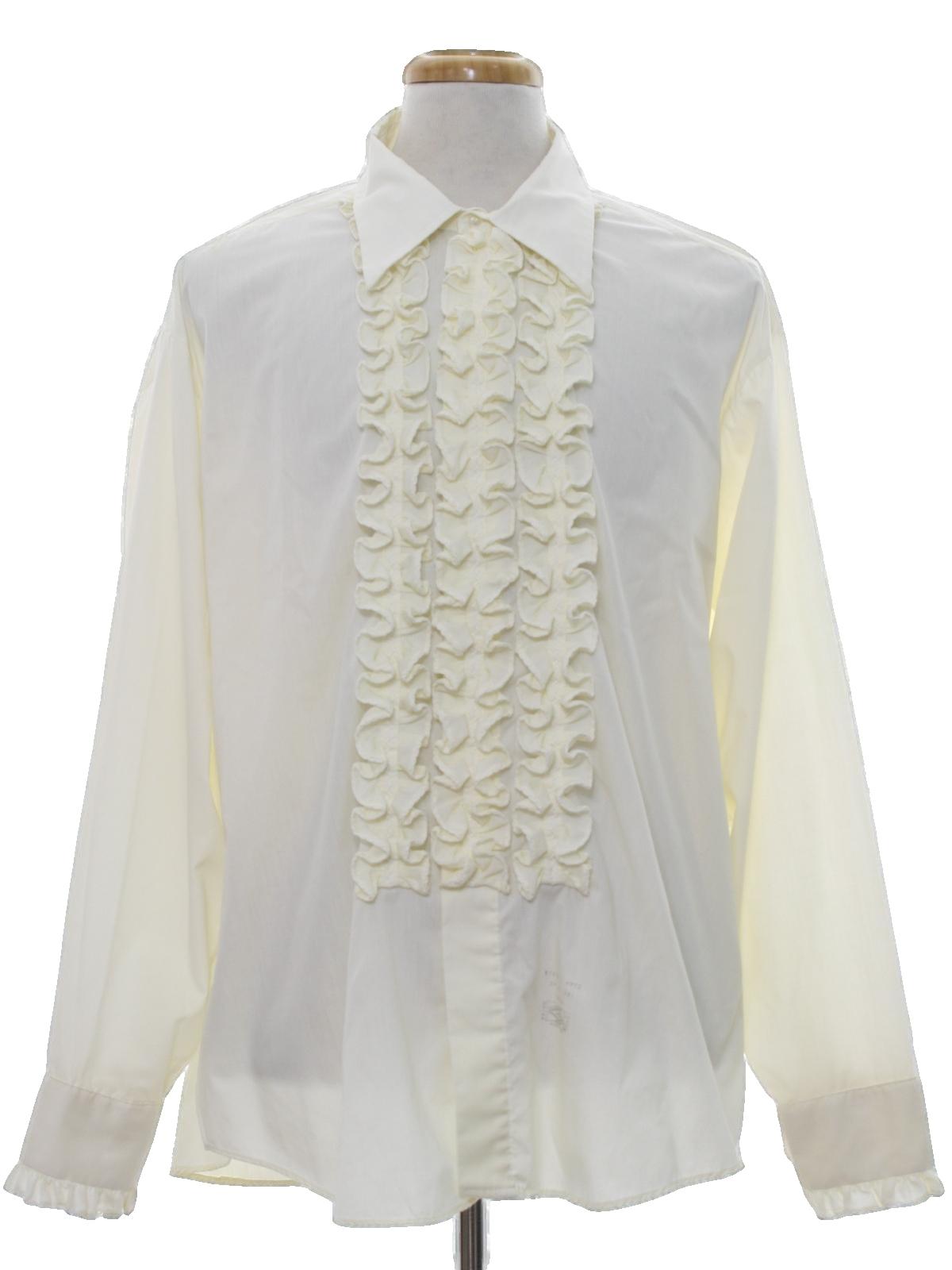 Retro seventies shirt 70s jims formal wear mens ivory for Can you wear cufflinks on a regular shirt