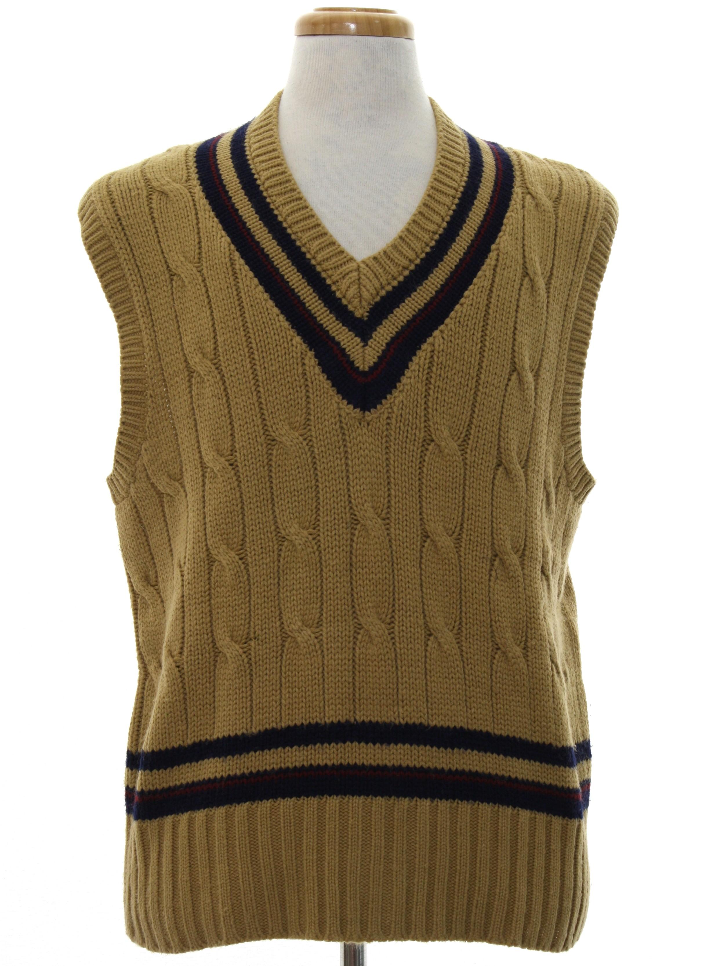 1980\u0027s Stephen Douglas by Forum Mens Totally 80s Preppy Sweater Vest