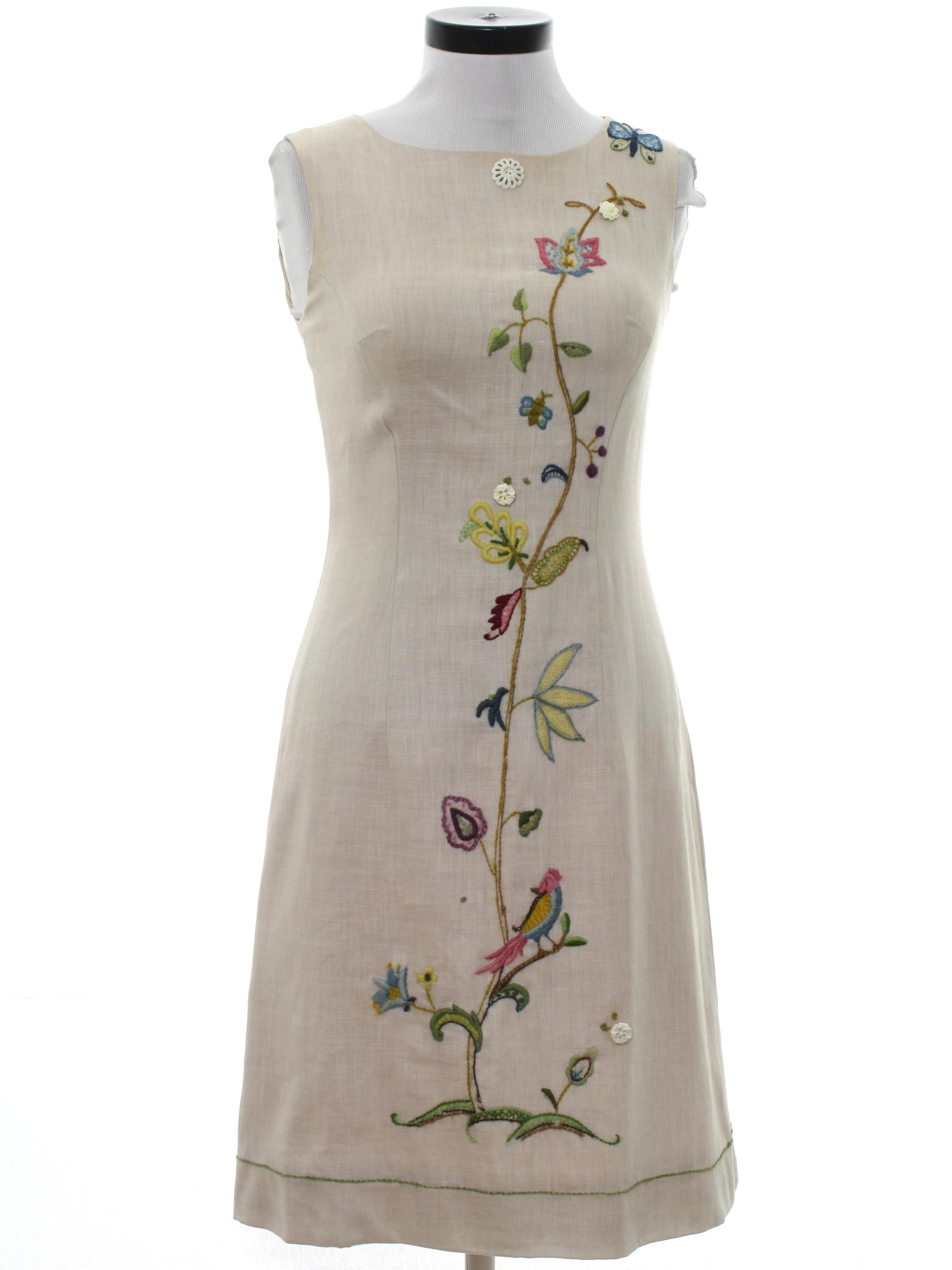 1960 S Retro Dress 60s Home Sewn Womens Beige Blended