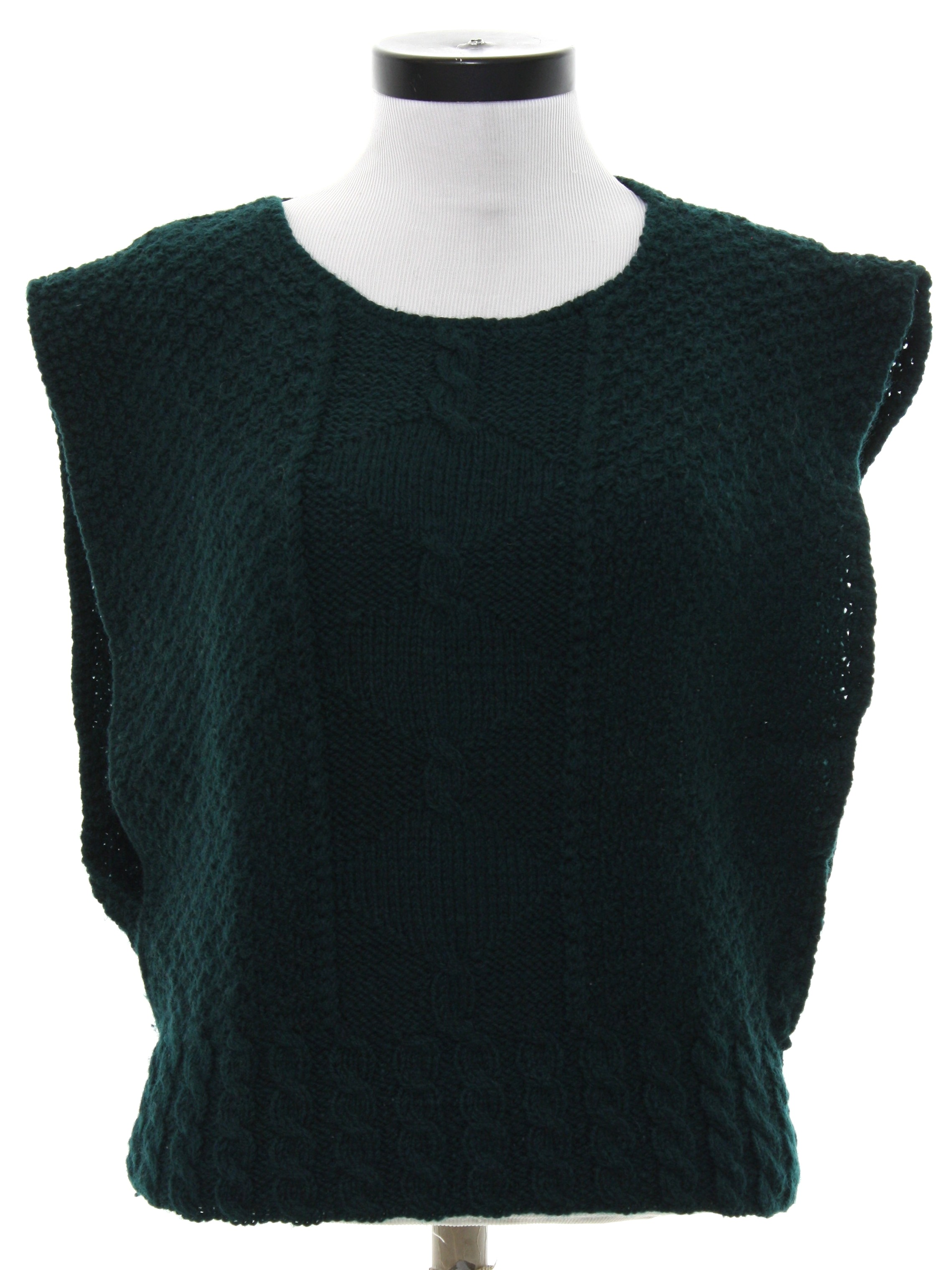 Knit Vest Pattern In The Round : 1980s Vintage Meadowbank Sweater: 80s -Meadowbank-- Womens dark green ch...