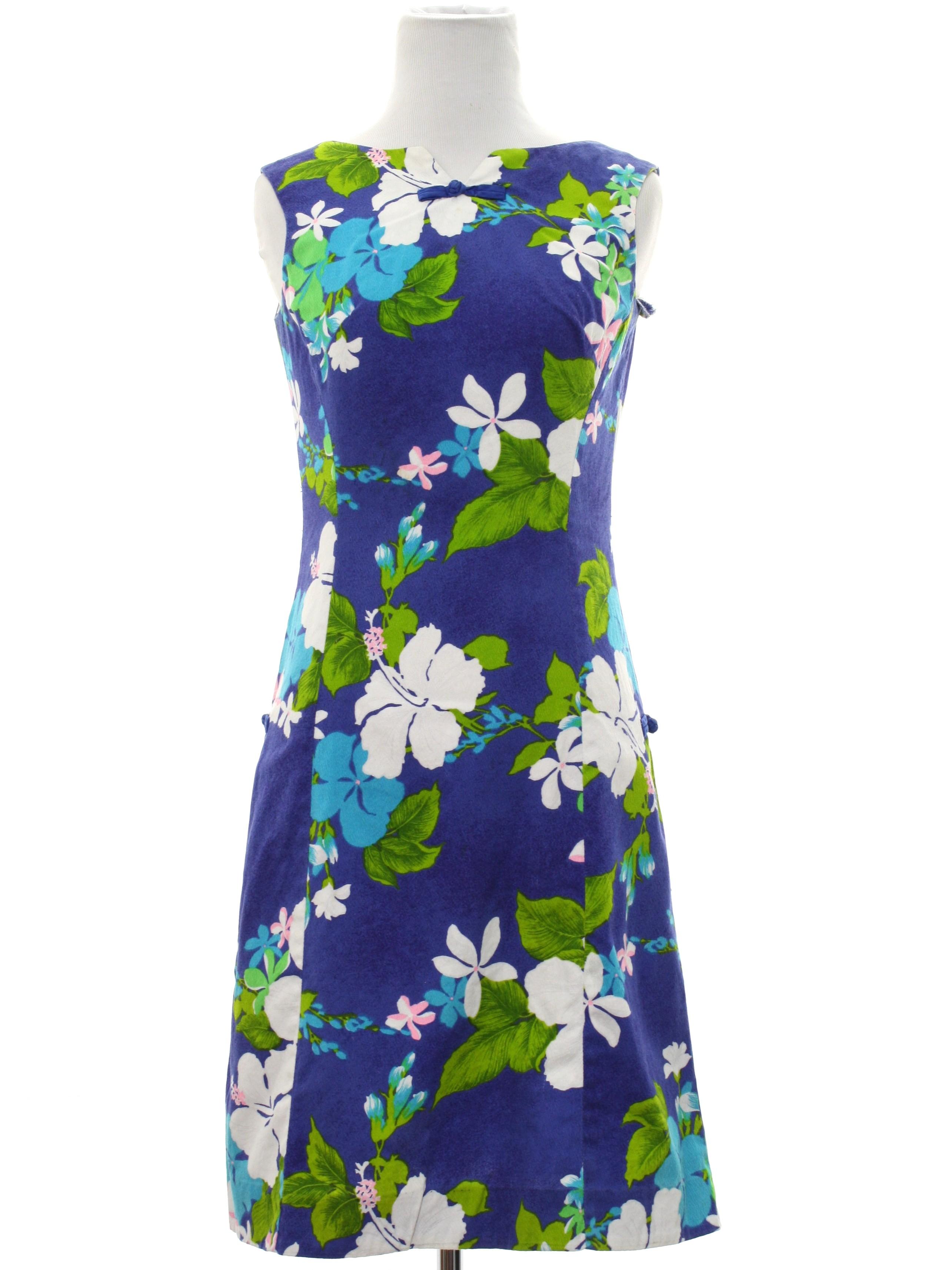Vintage 1960 S Hawaiian Dress 60s Hoaloha Womens Royal
