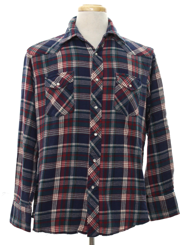 80s western shirt wrangler 80s wrangler mens navy for Navy blue and red flannel shirt
