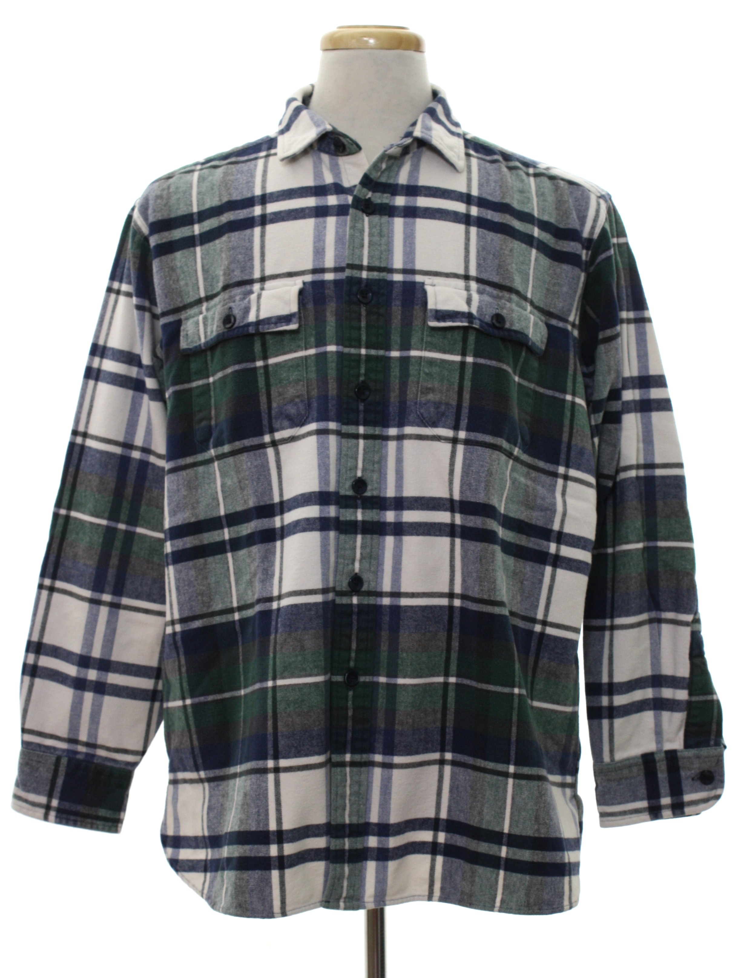 Nineties l l bean shirt 90s l l bean mens white for Green and black plaid flannel shirt