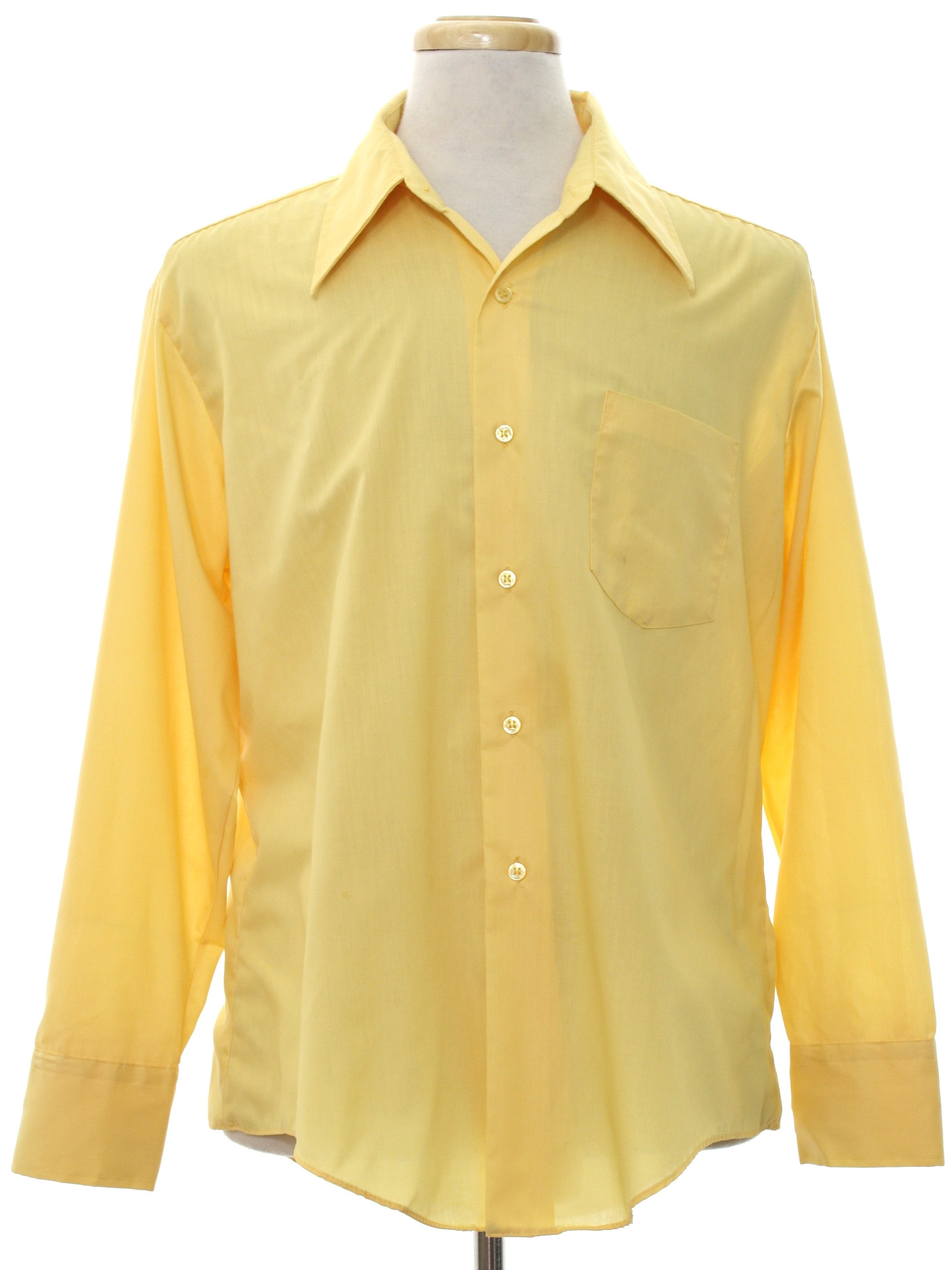 70s vintage k shirt 70s k mart mens sunflower yellow for Solid color button up shirts