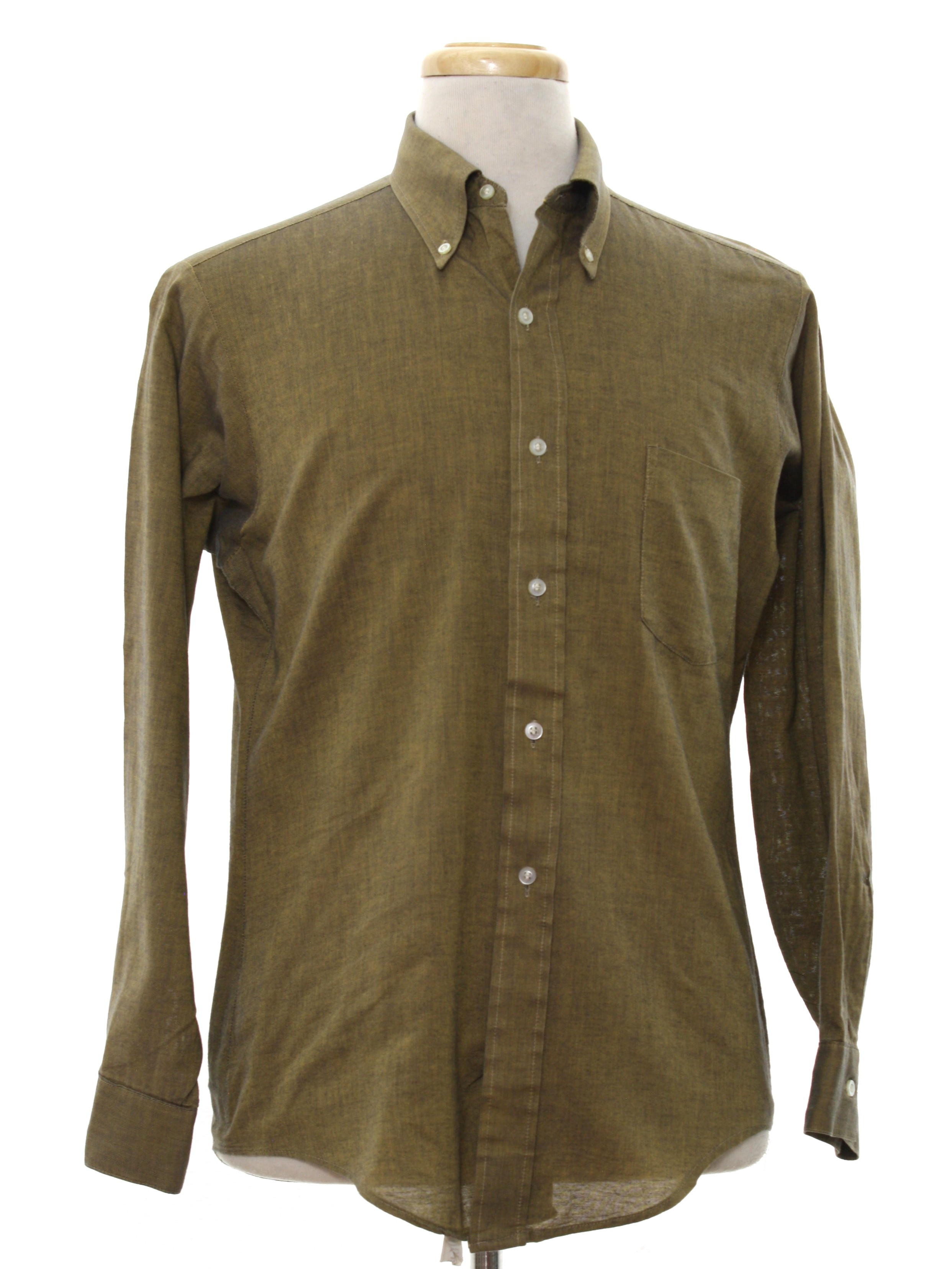 60 39 s vintage shirt early 60s 417 van heusen v taper for Olive green oxford shirt