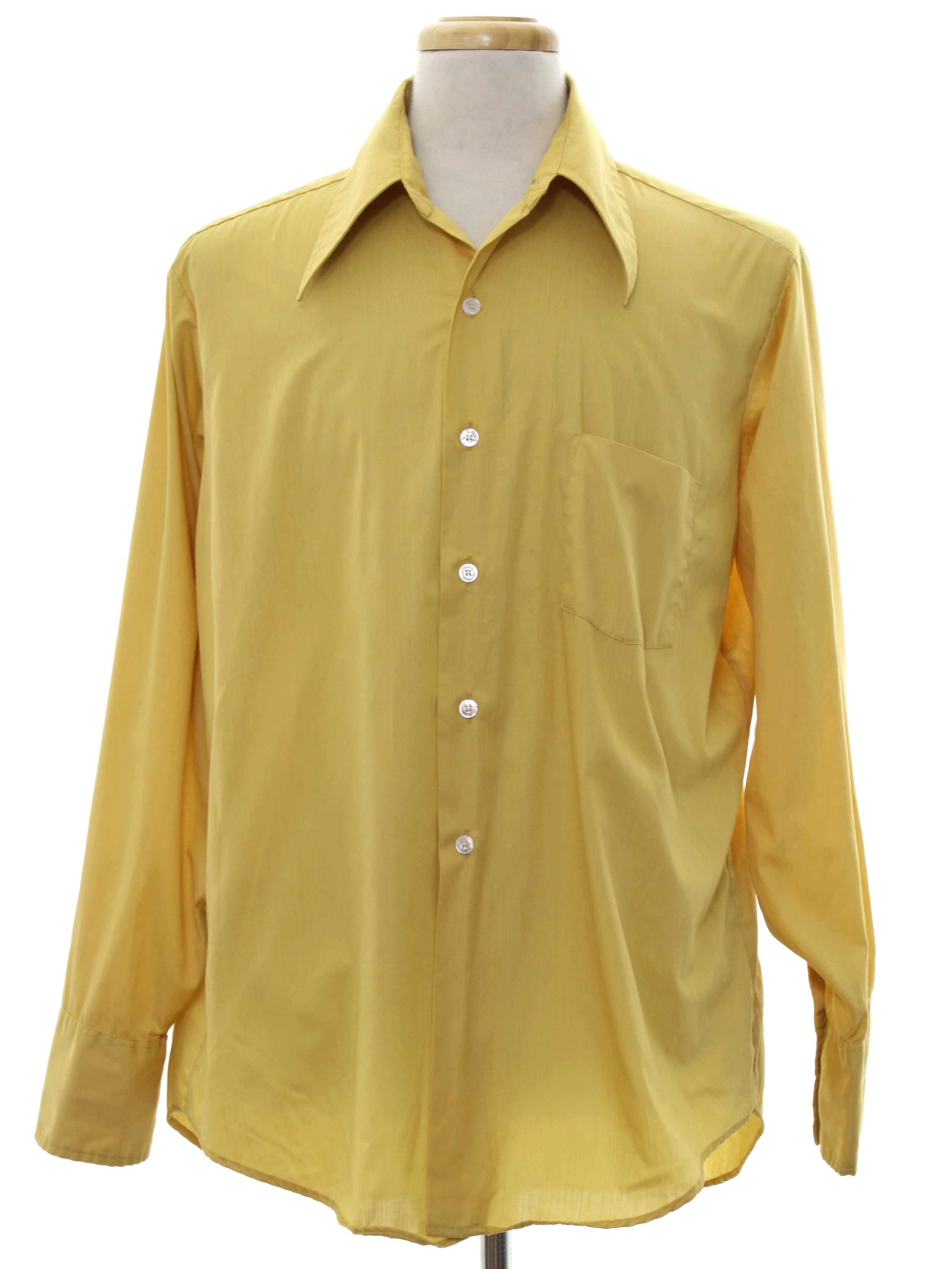 Seventies vintage shirt 70s gino mens harvest gold for Solid color button up shirts