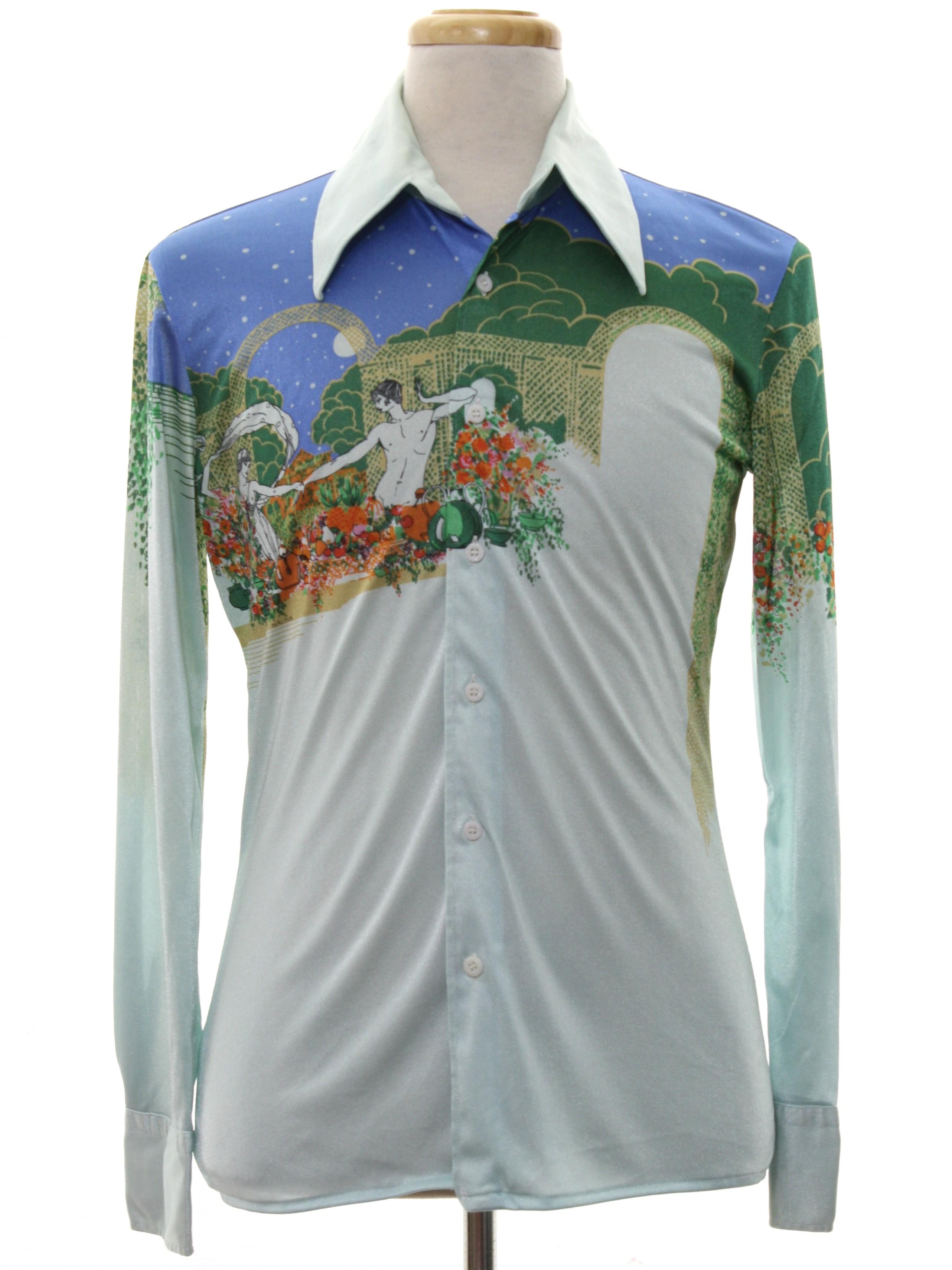 Nik nik 1970s vintage print disco shirt 70s nik nik for Mens shirts with cufflink holes