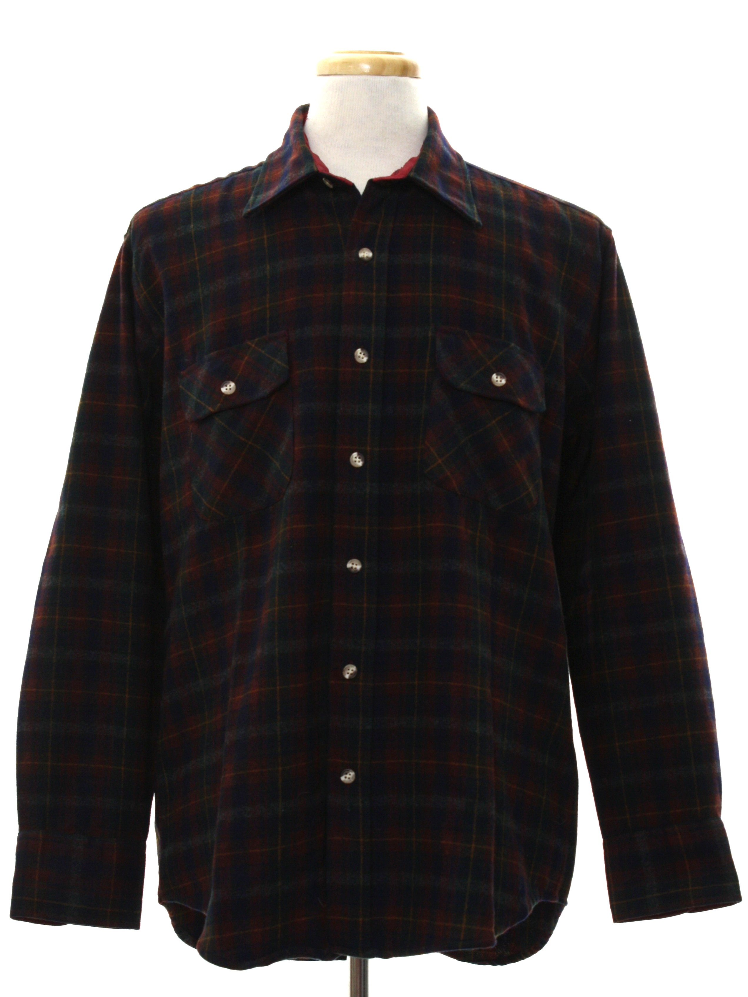 80s retro wool shirt late 80s four winds mens navy blue for Navy blue and red flannel shirt