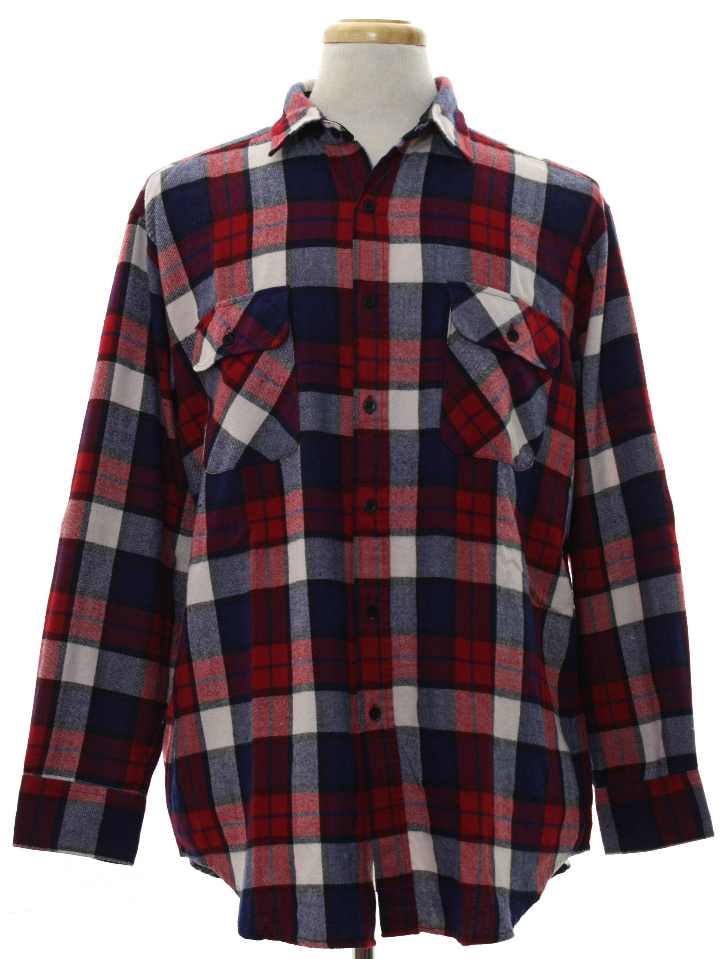 1990 39 s retro shirt 90s j forest and co mens white for Navy blue and red flannel shirt