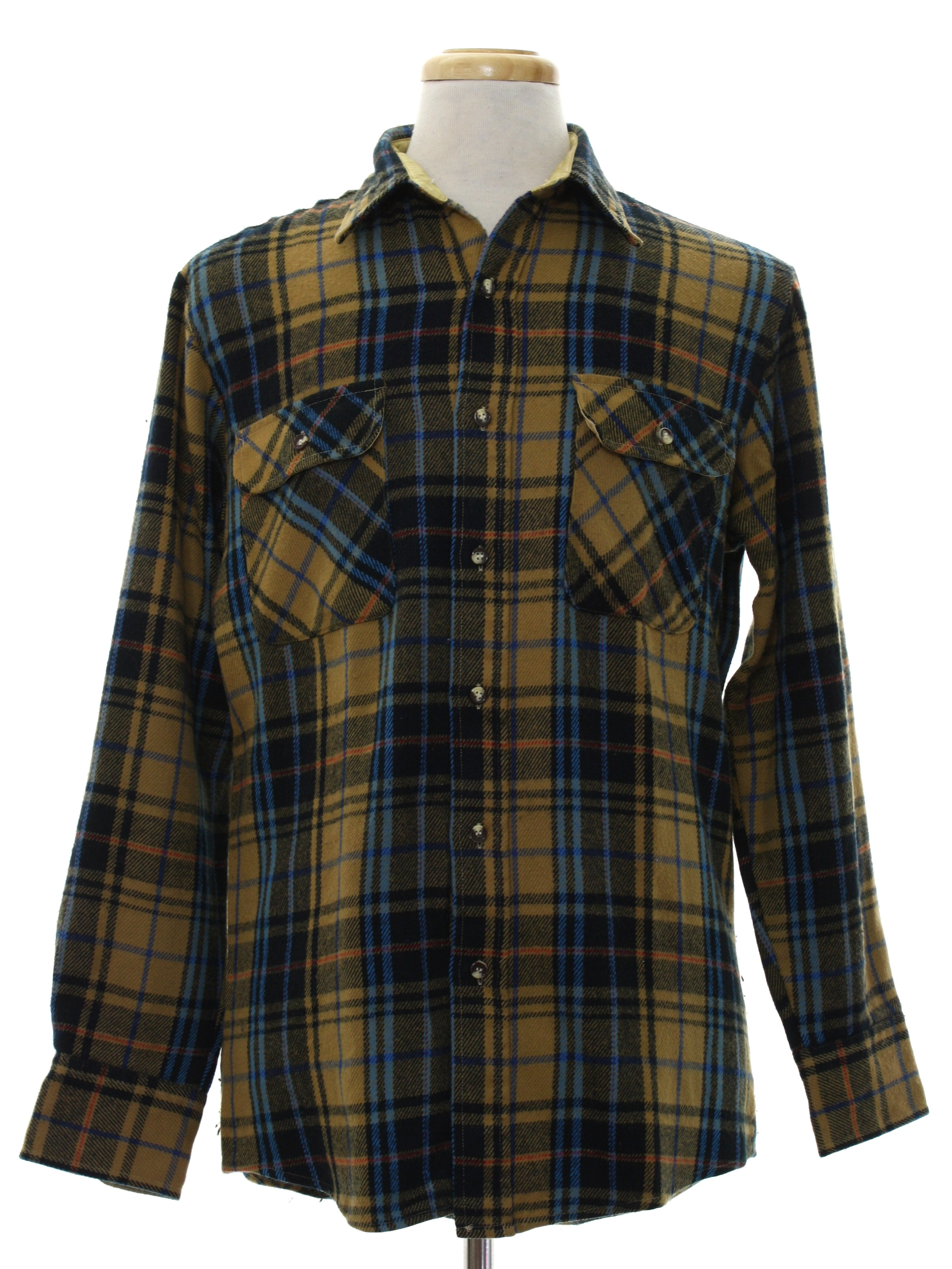 Vintage fieldmaster eighties shirt 80s fieldmaster mens for Navy blue and red flannel shirt