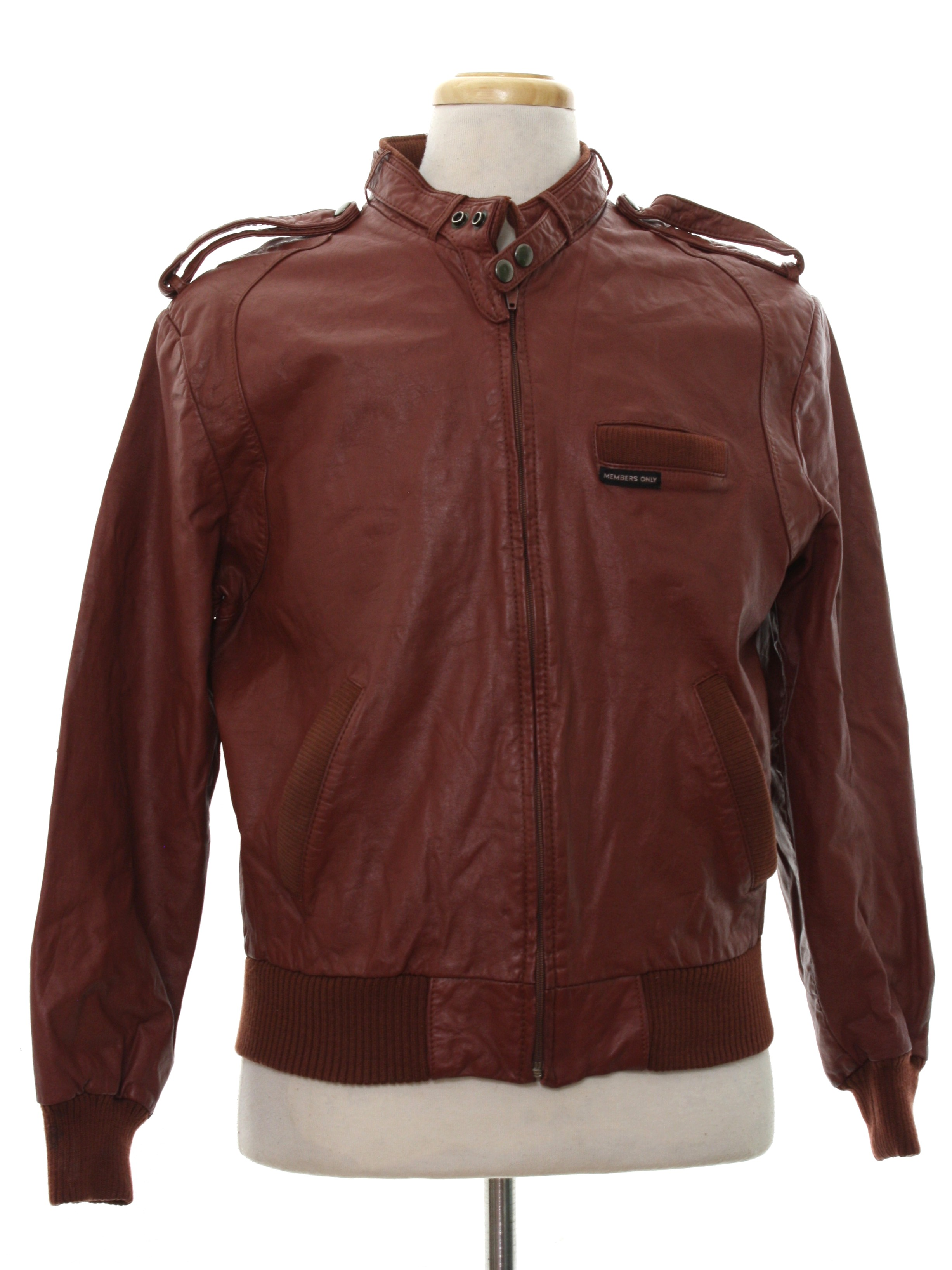 Leather jacket europe - Eighties Leather Jacket 80s Members Only By Europe Craft Mens Brick Red Background Leather Ribbed Knit Cuff Longsleeve Zip Front Members Only Leather