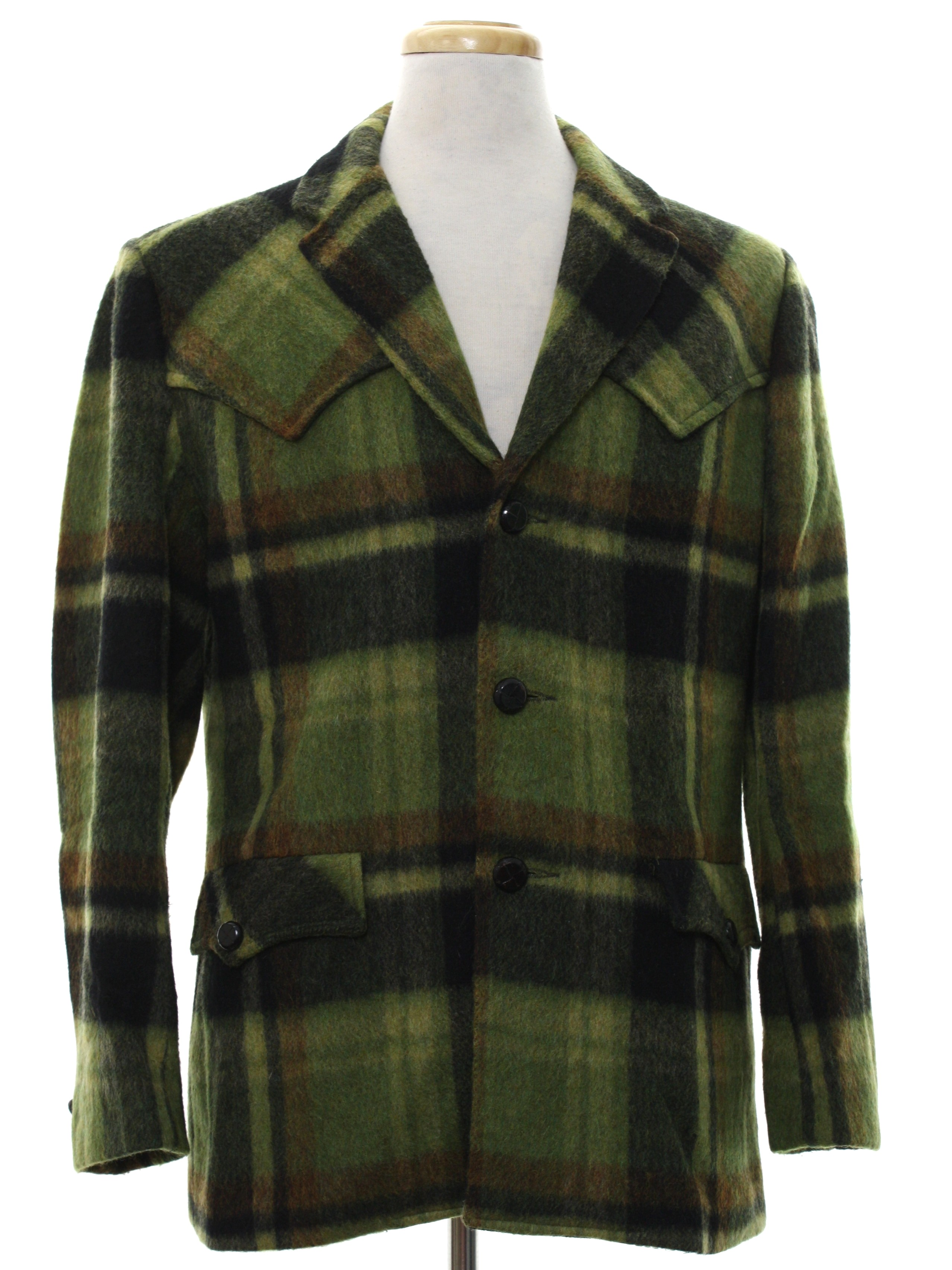 Retro Sixties Jacket 60s Trego Western Wear Mens Green
