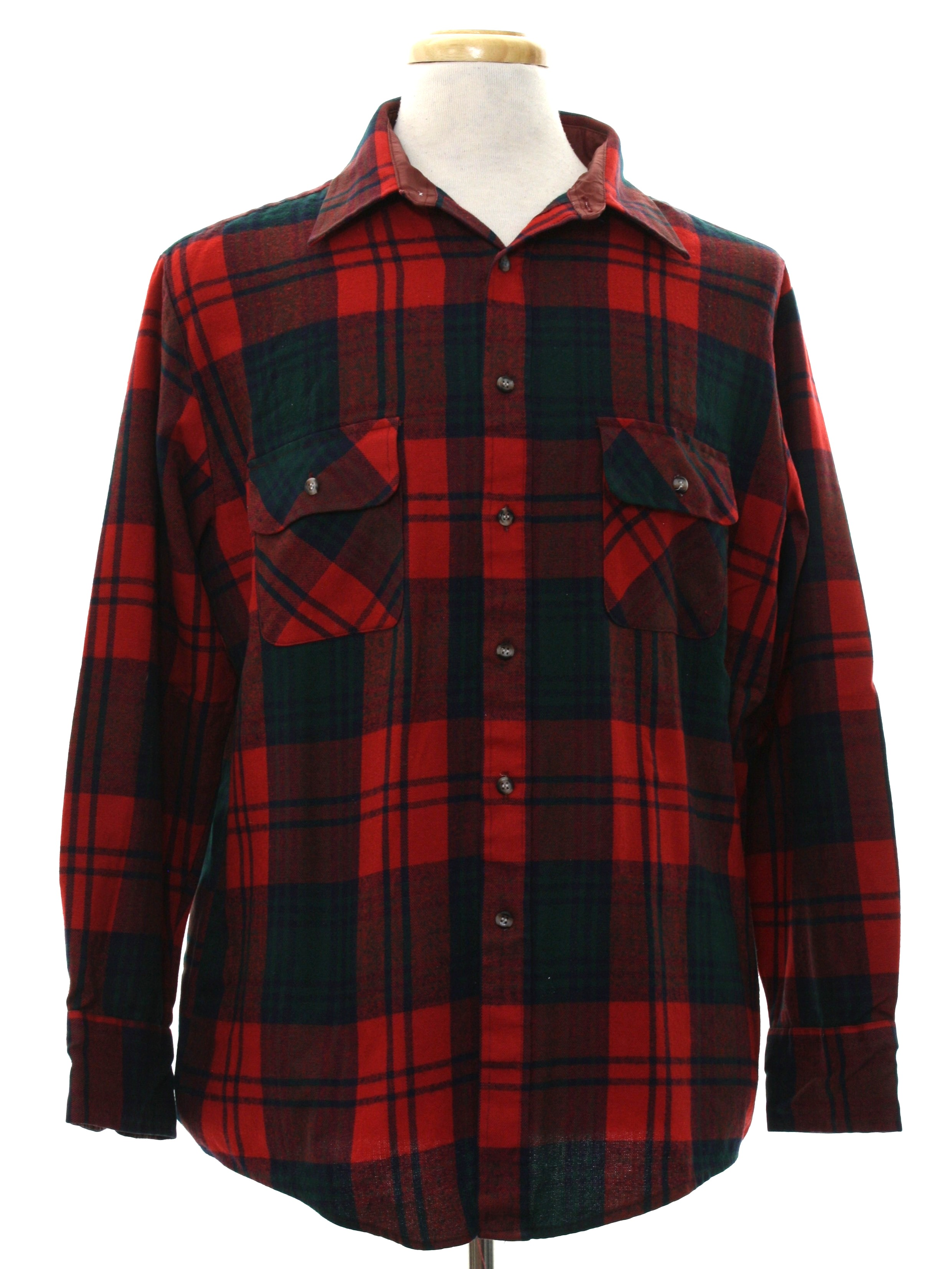 Vintage 1980 39 s shirt 80s northwest territory mens red for Navy blue and red flannel shirt