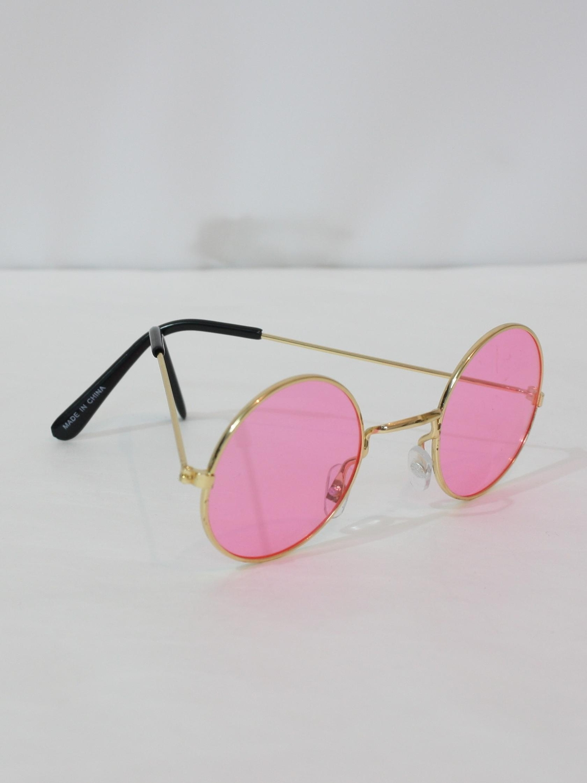 8dbb0e98e9 Vintage 70s Glasses  70s style (made recently) -Round Hippie Glasses-  Unisex John Lennon style gold metal round frame with bright pink lens  sunglasses.