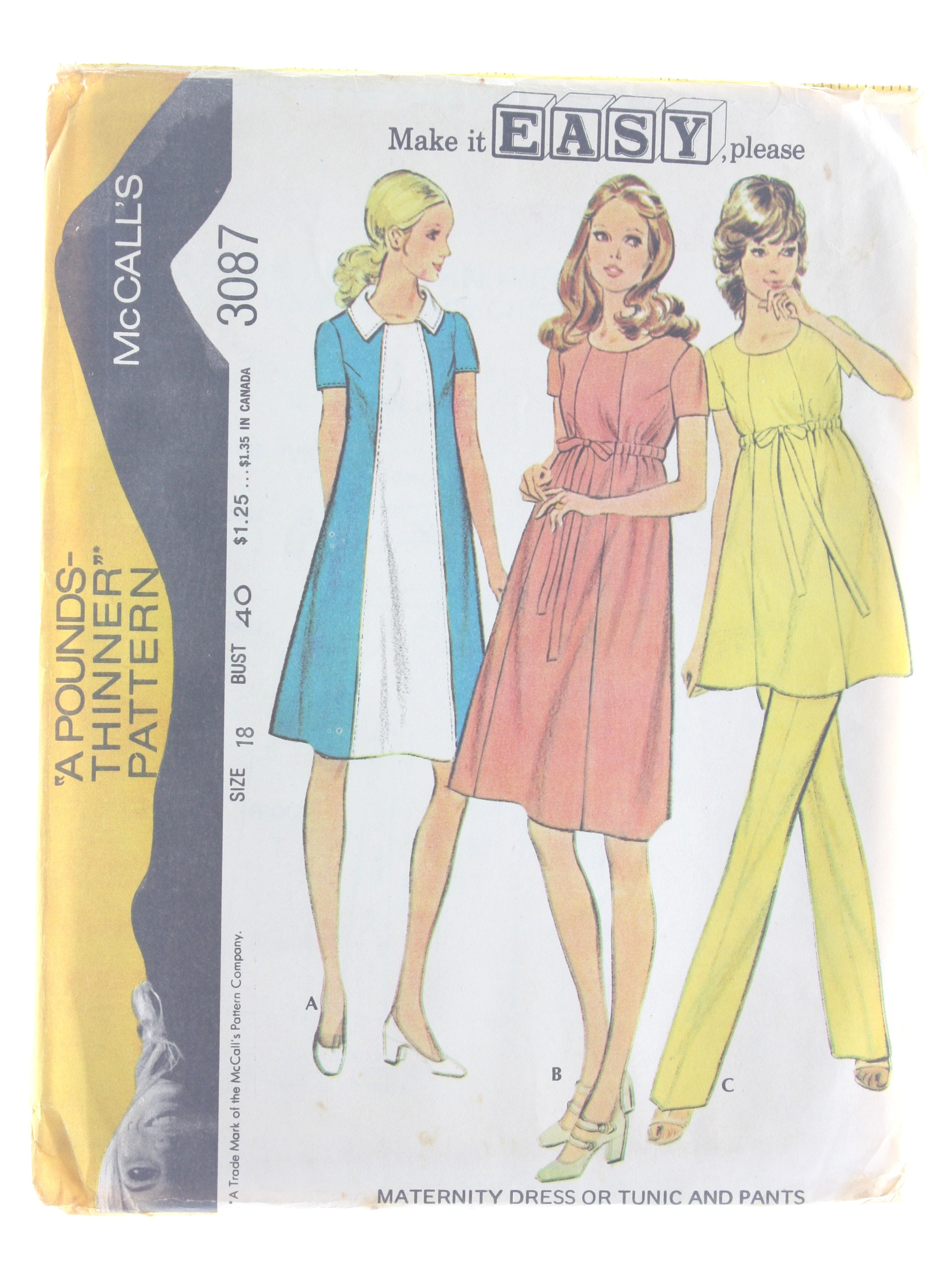Retro 1970s Sewing Pattern 70s Mccalls Pattern No 3087