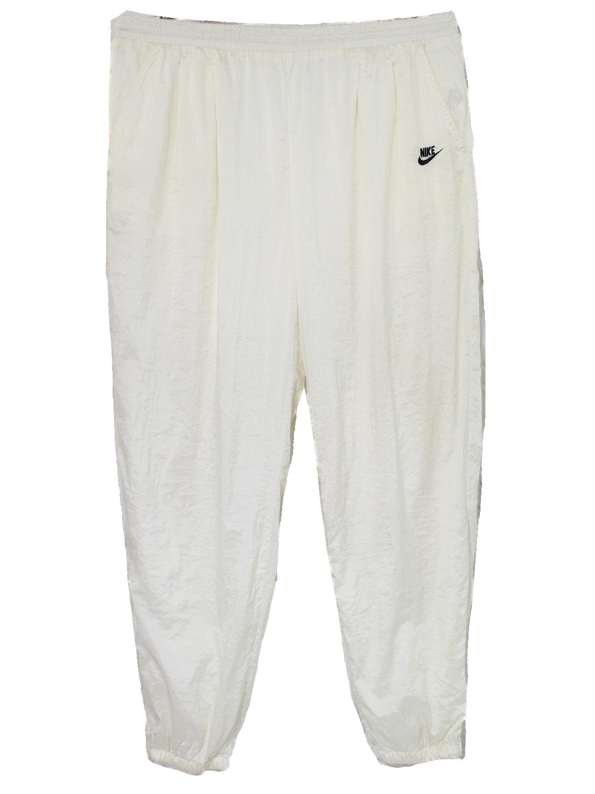 3e0adcb890cd3 Vintage Nike Eighties Pants: 80s -Nike- Mens white nylon shell ...