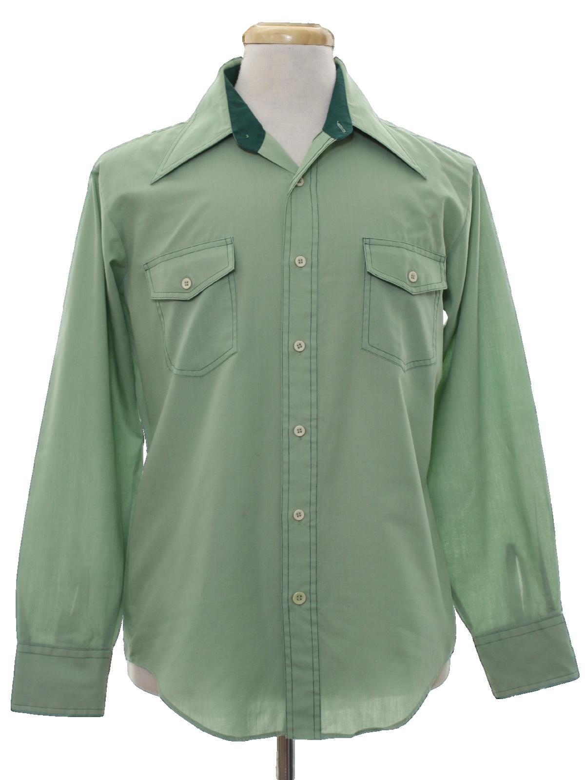 Vintage 1970 39 s shirt 70s kmart mens light avocado green for Kmart button up shirts