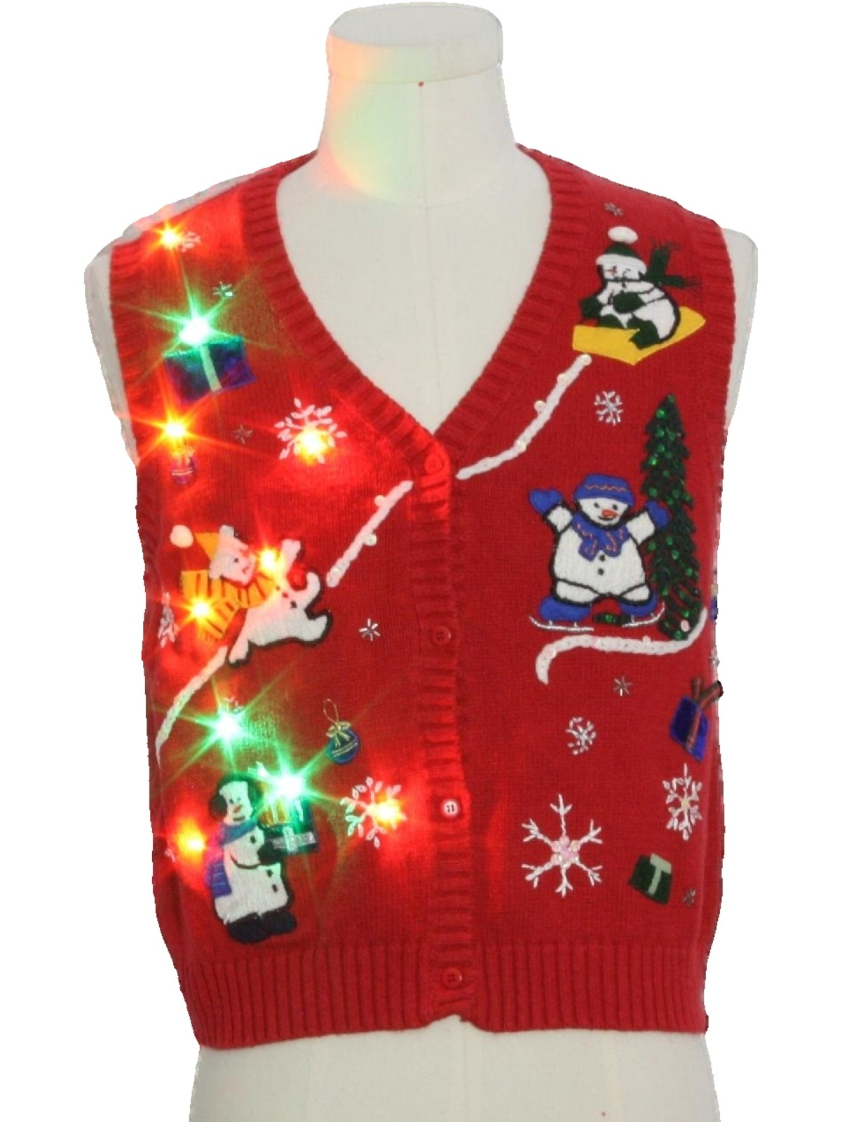 Womens Lightup Ugly Christmas Sweater Vest Reference