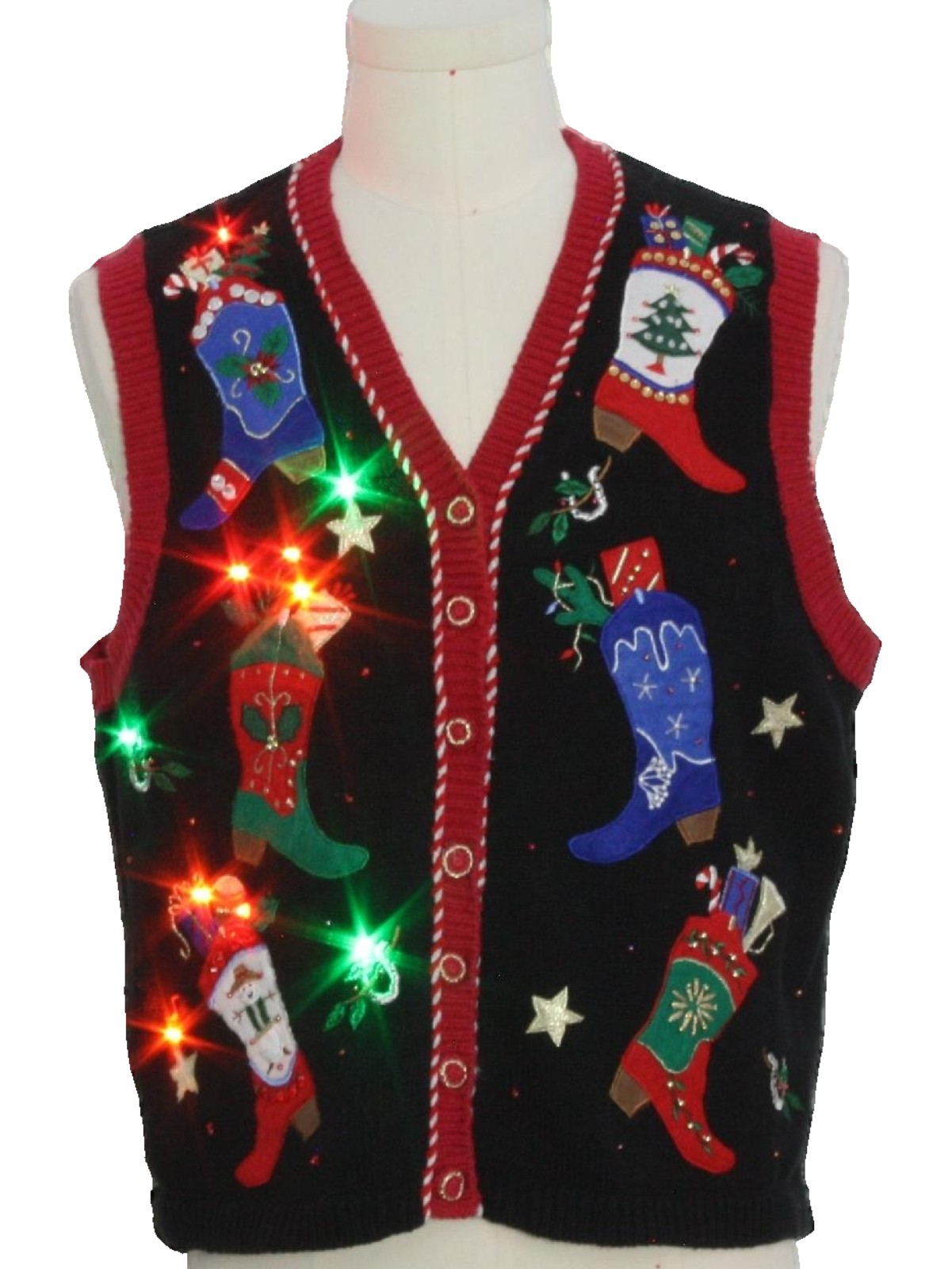 Lightup ugly christmas sweater vest austin clothing company