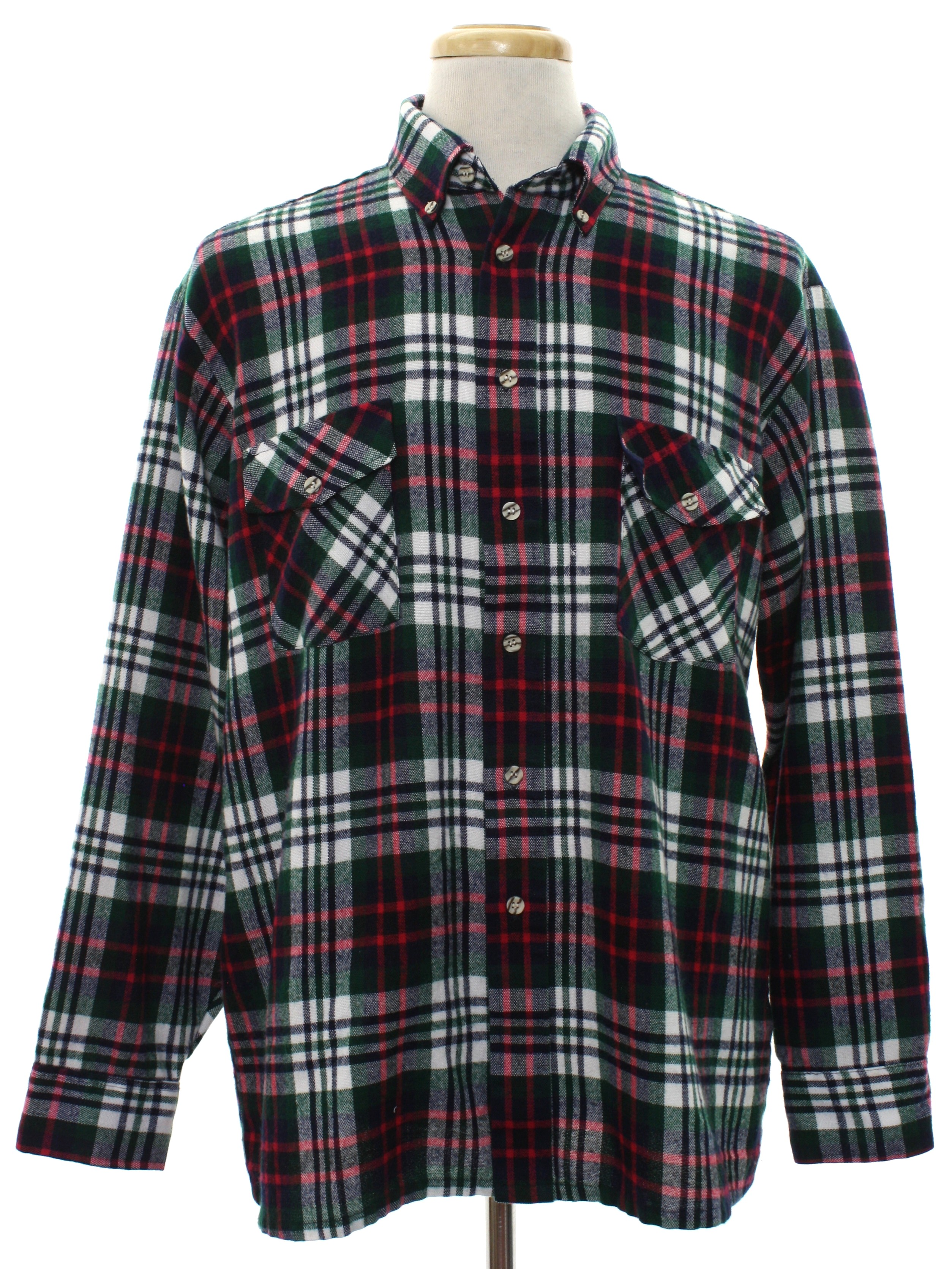 Retro 80s shirt winterweights by van heusen 80s for Navy blue and red flannel shirt