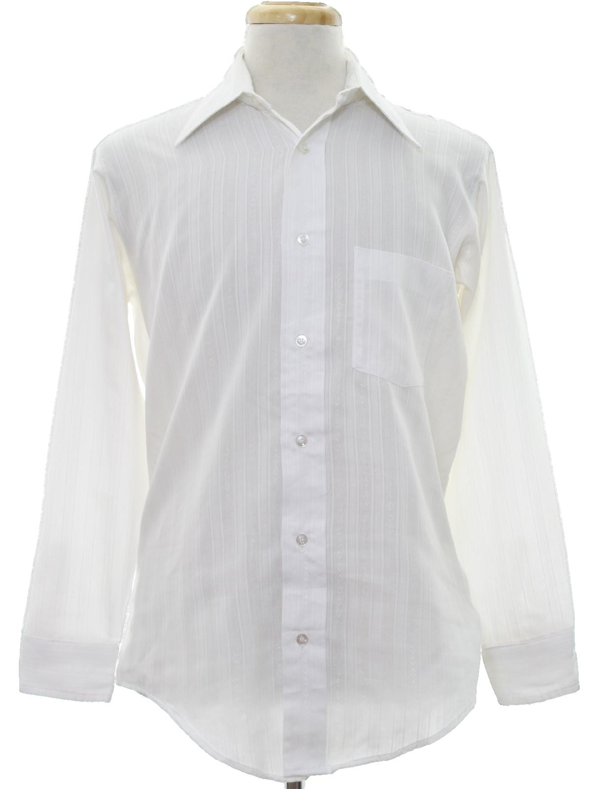 Retro 1970s disco shirt 70s kmart mens white background for Kmart button up shirts