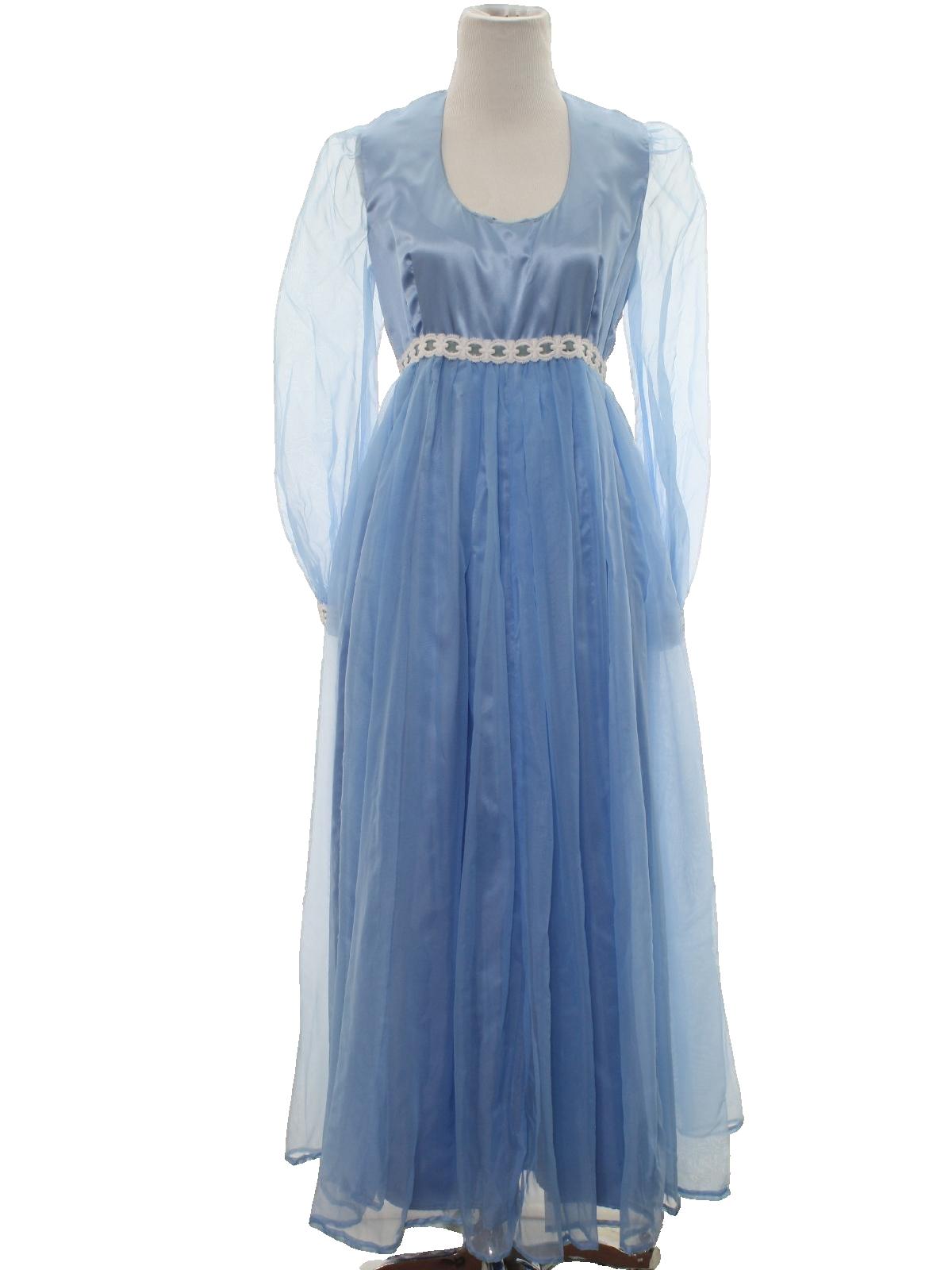 70s -Home Sewn- Womens blue satin
