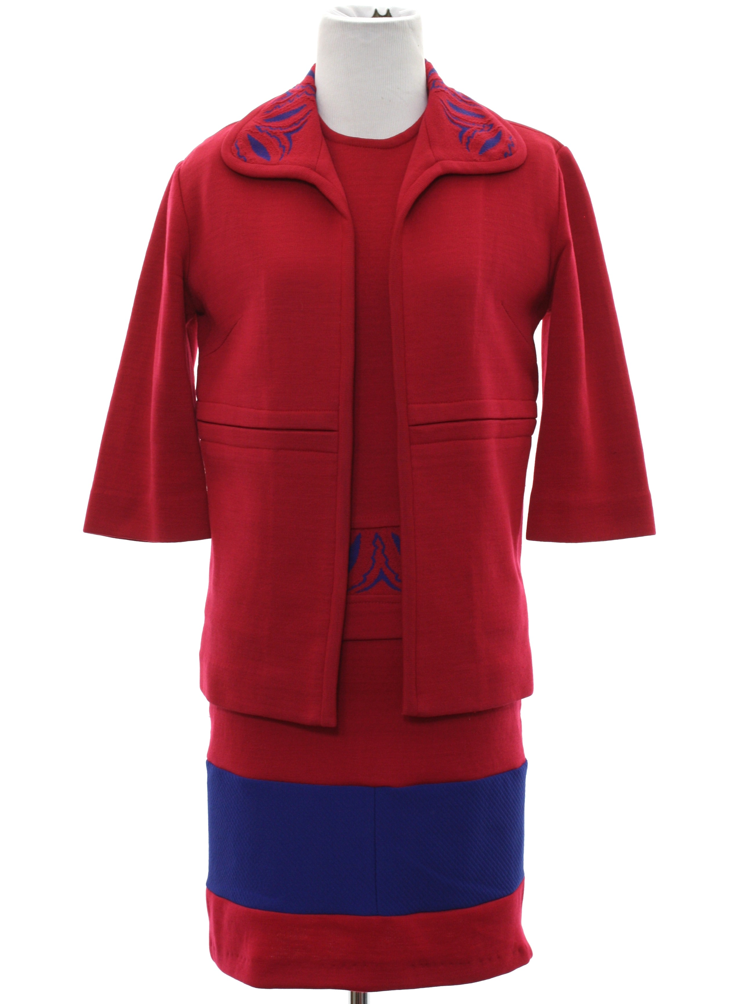 Retro 60 S Suit 60s Couture Imports Womens Red Wool Knit Three