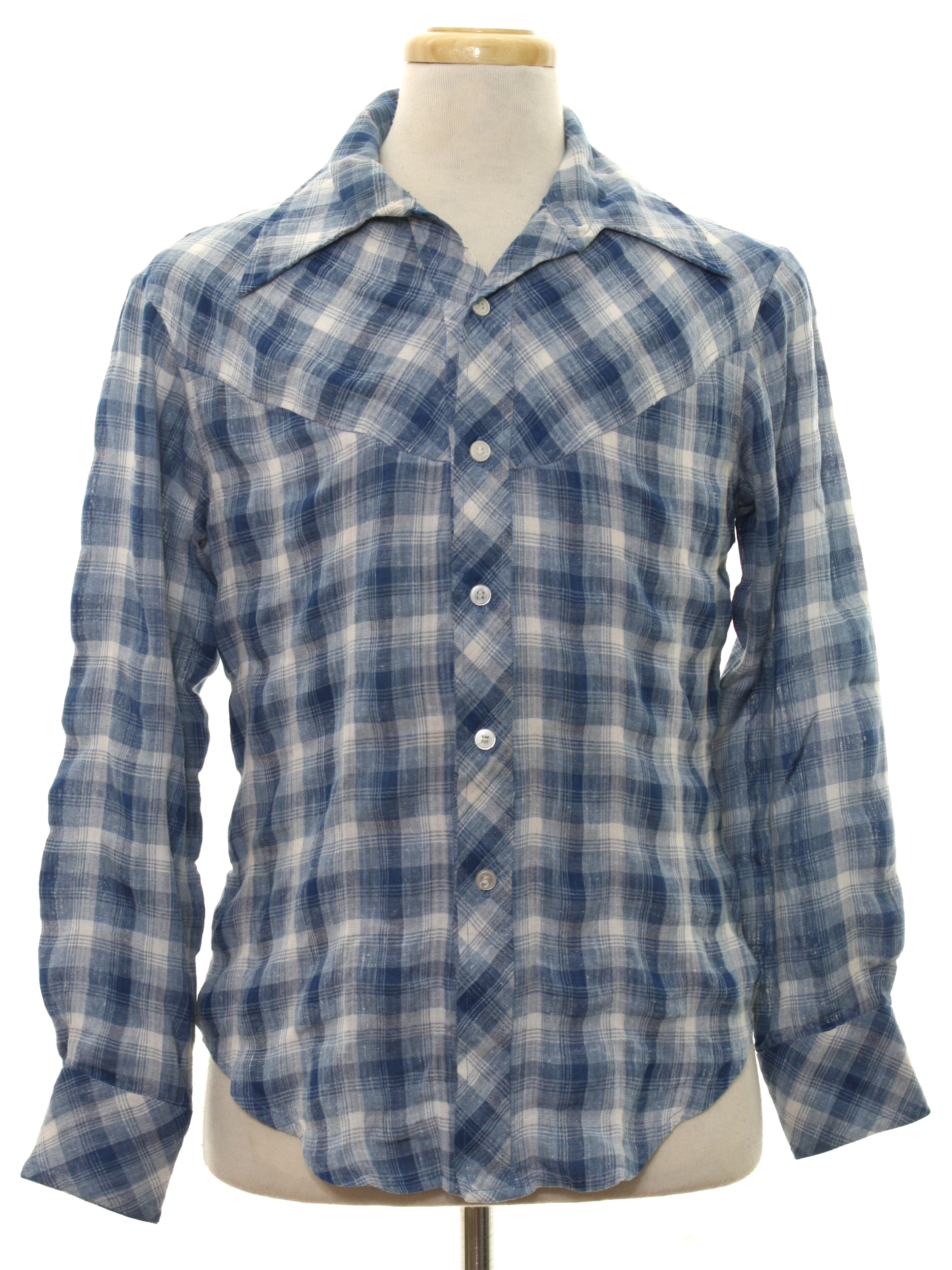 Vintage home sewn seventies western shirt 70s home sewn for Cotton polyester flannel shirts