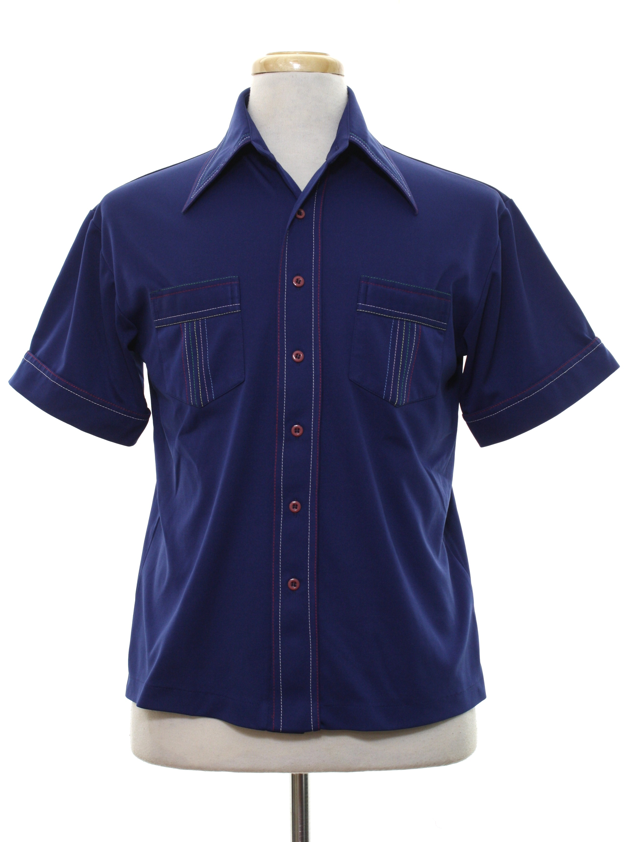 Retro 70s disco shirt cellini 70s cellini mens navy for Button up collared sport shirts