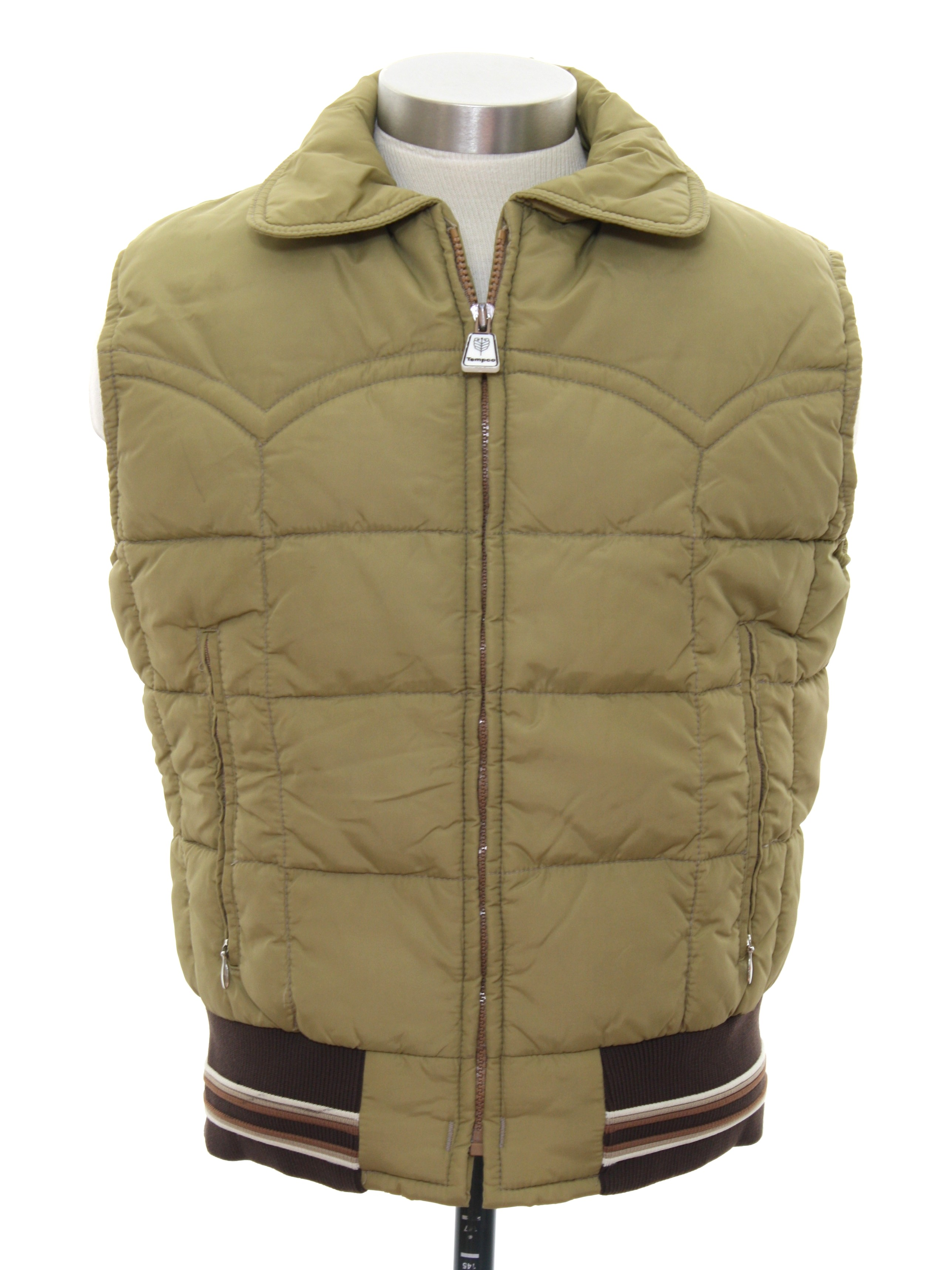 1980s Vintage Jacket Early 80s Tempco Mens Tan Quilted