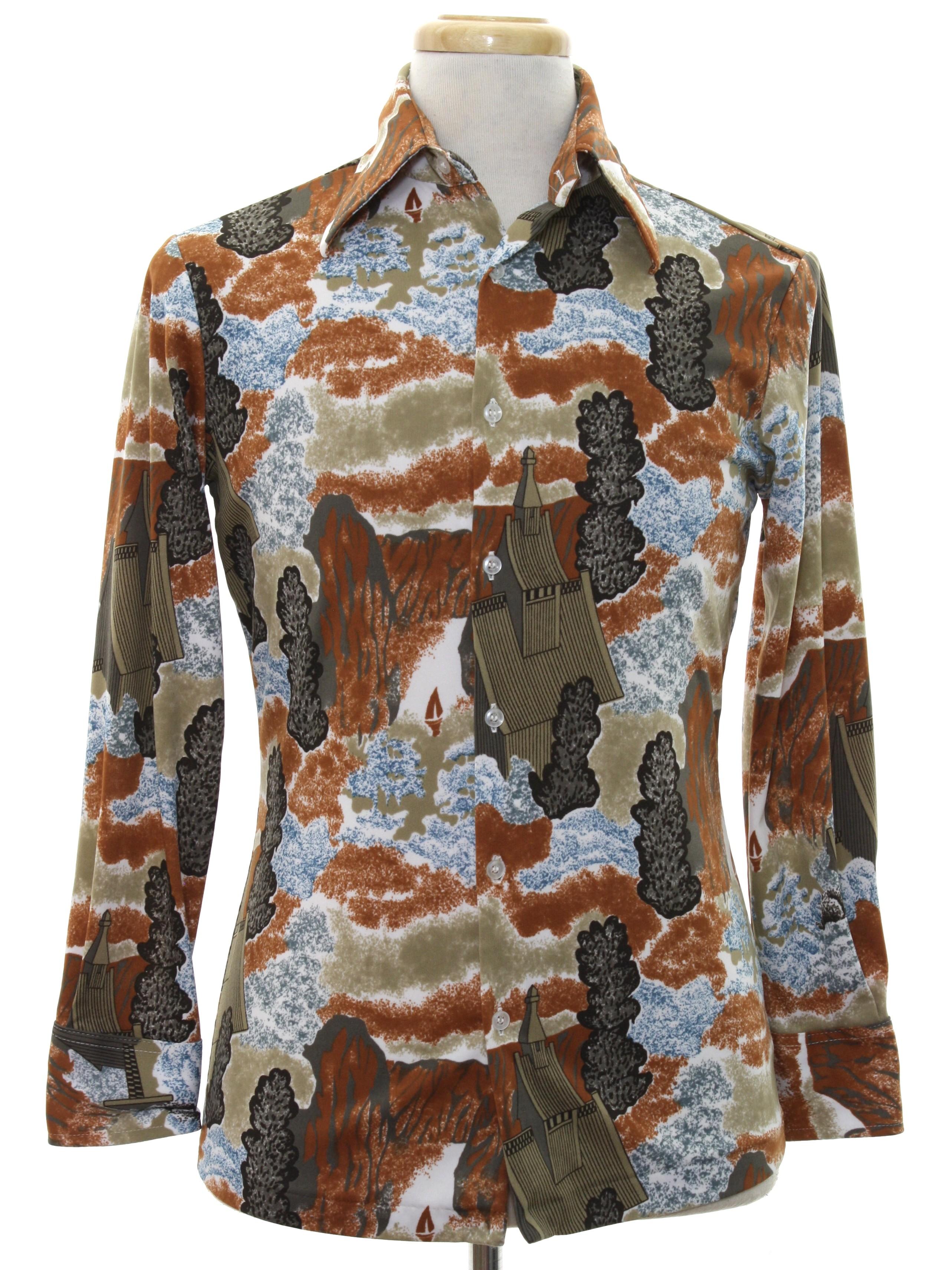 1970 39 s retro print disco shirt 70s kmart mens white for Kmart button up shirts
