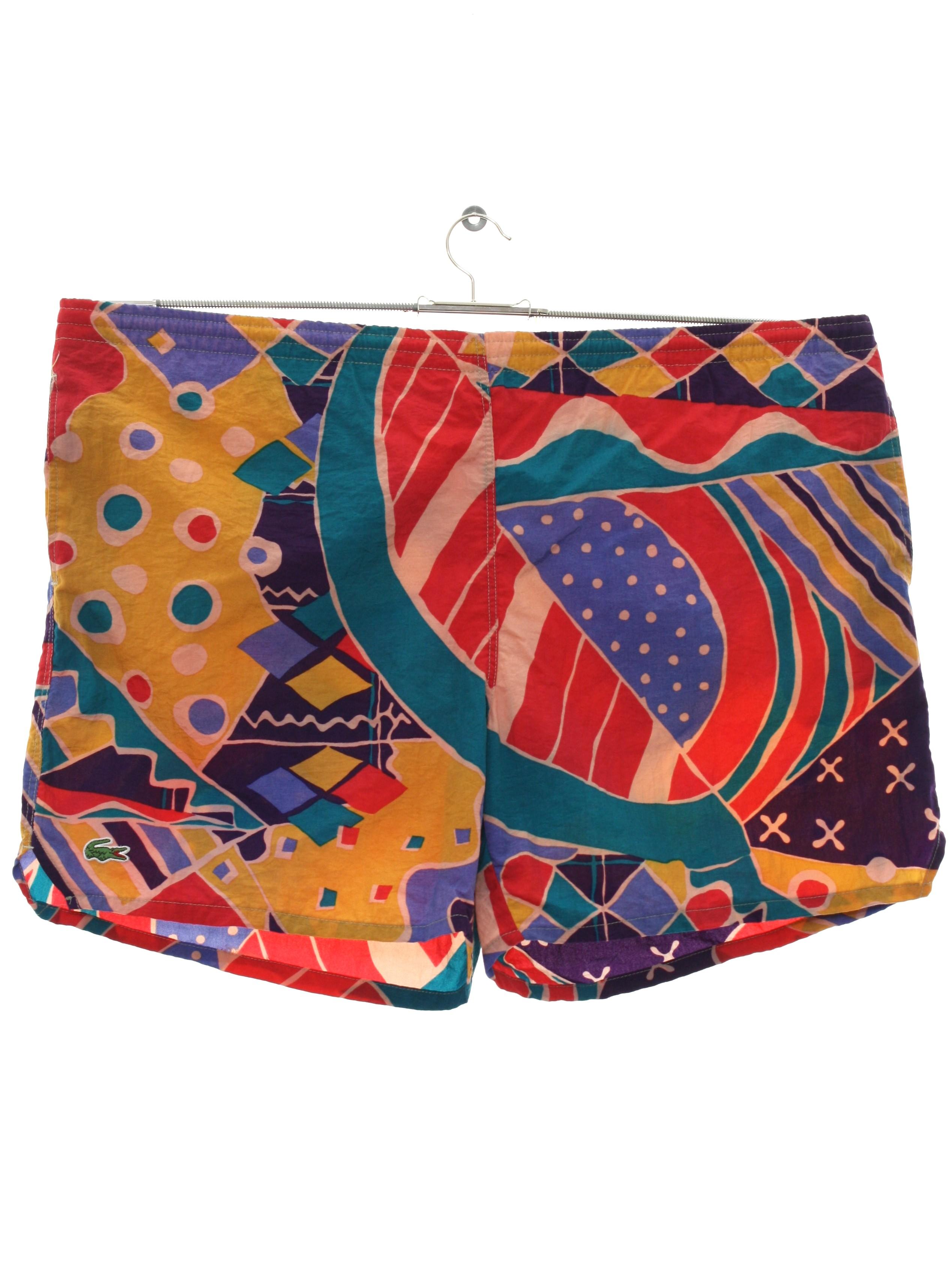edc5b17f3c Retro Eighties Swimsuit/Swimwear: 80s -Lacoste- Mens Multicolor ...