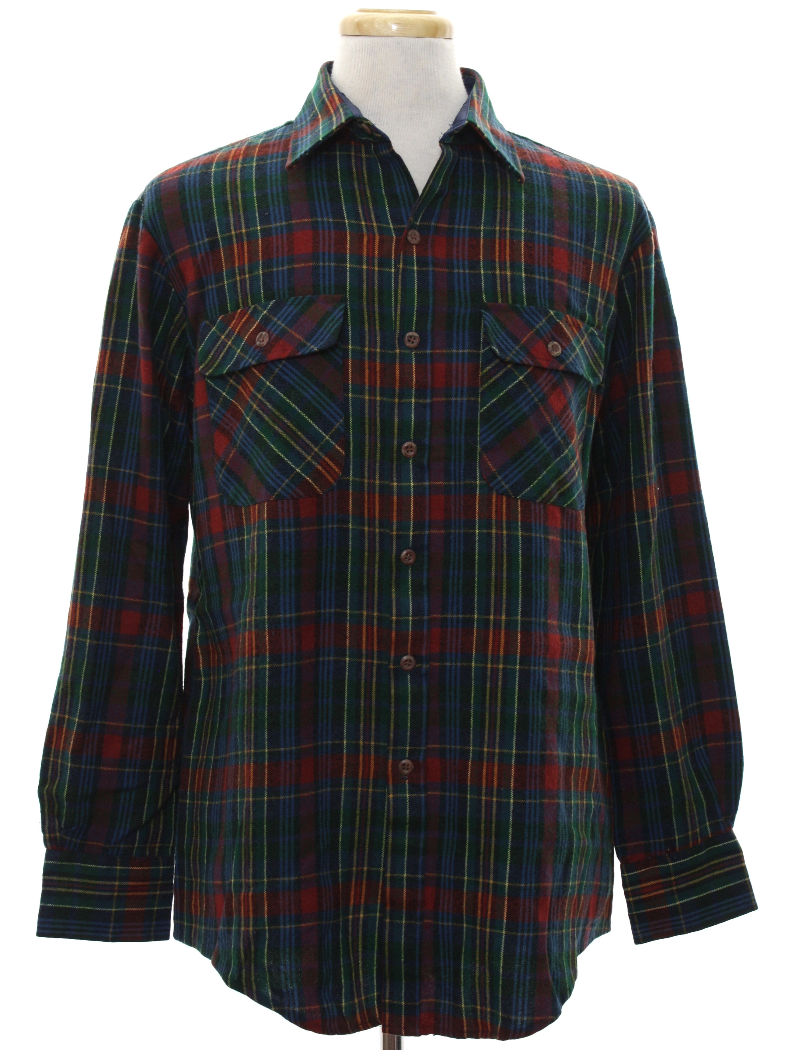 St johns bay eighties vintage shirt 80s st johns bay for Navy blue and red flannel shirt