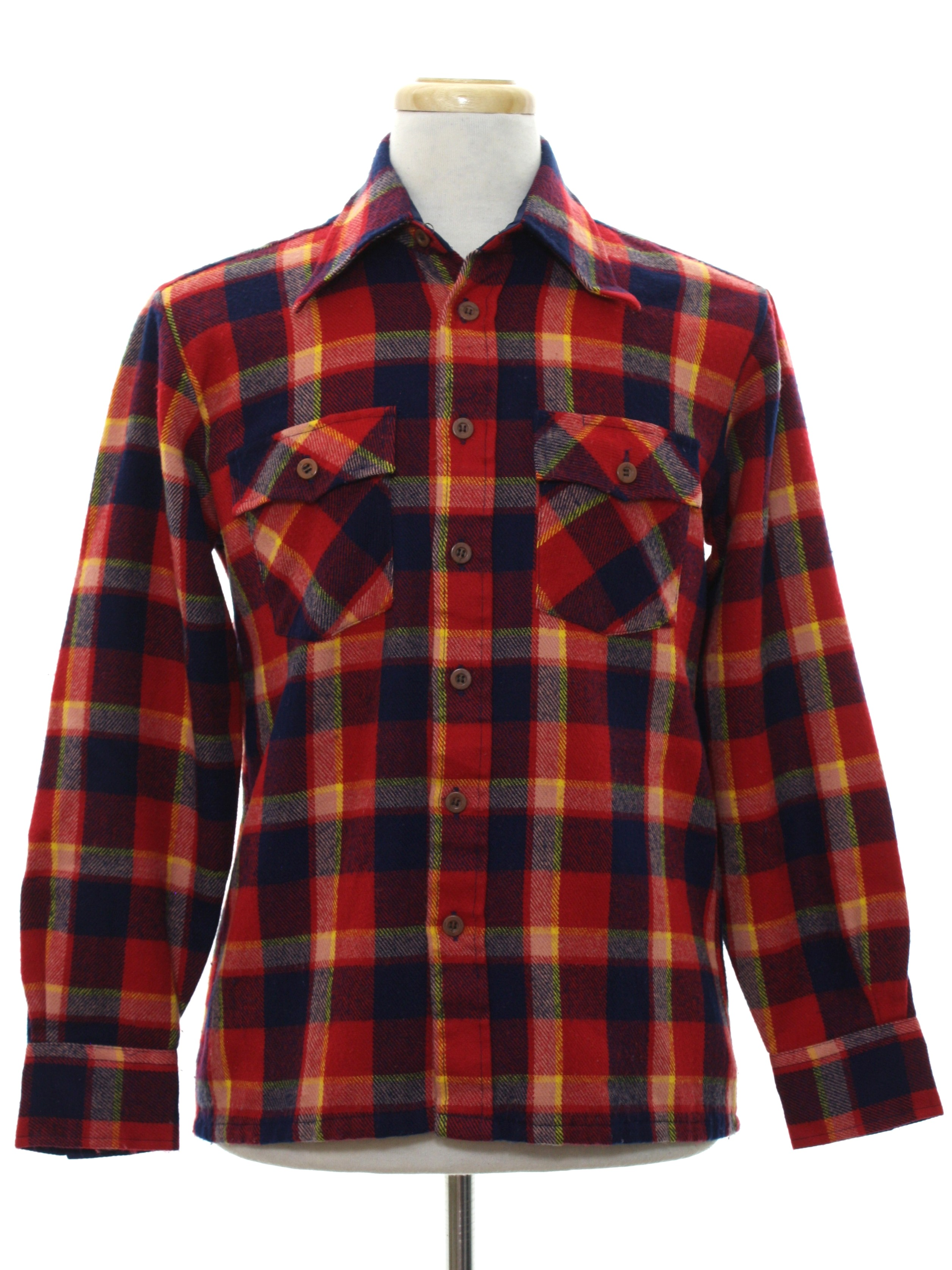 Retro 80 39 s shirt 80s woodland mens red background for Navy blue and red flannel shirt