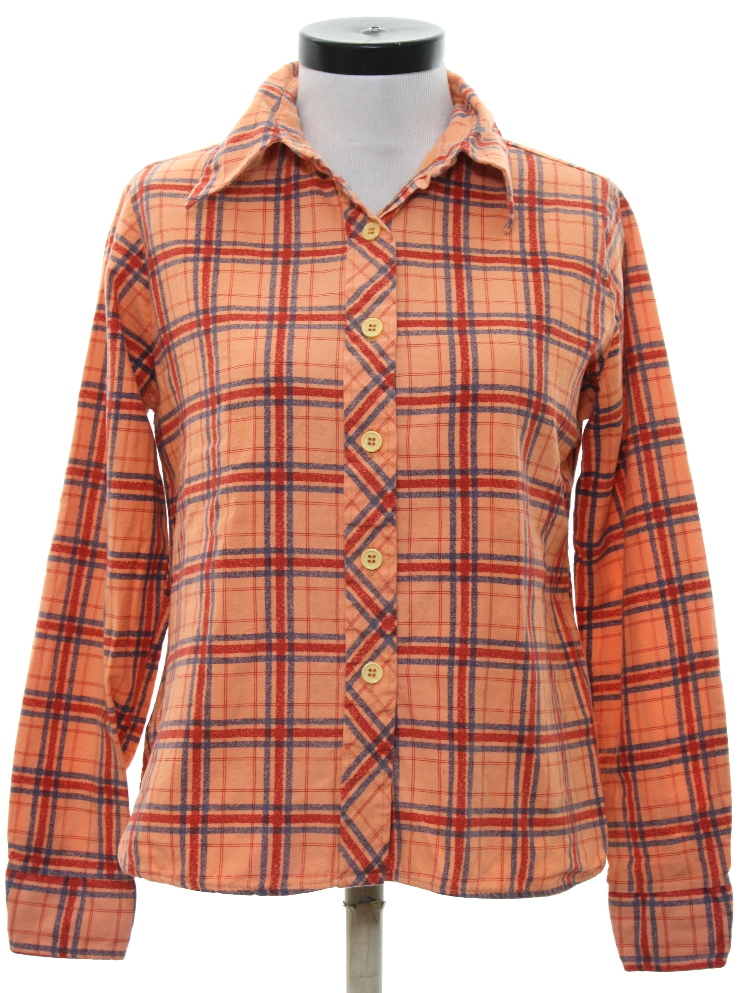Retro 1970 39 s shirt sears jr bazaar 70s sears jr for Cotton polyester flannel shirts