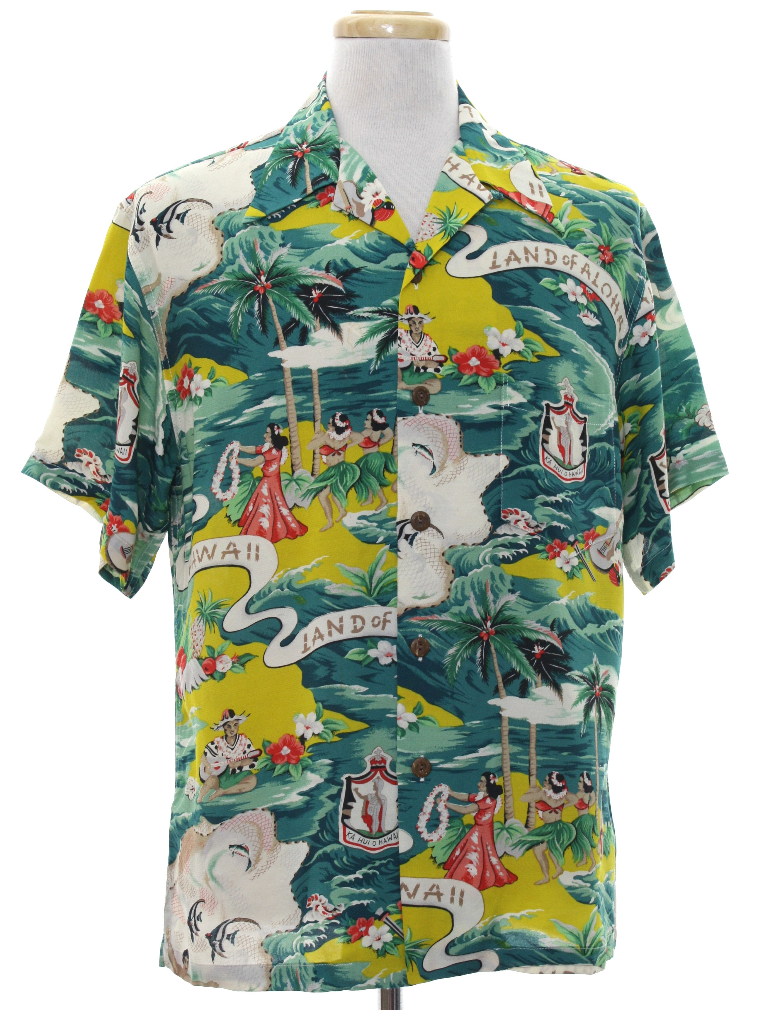 09e75716f Hawaiian Shirt: Late 40s style (Made in 90s) -Kilauea Made in Hawaii ...