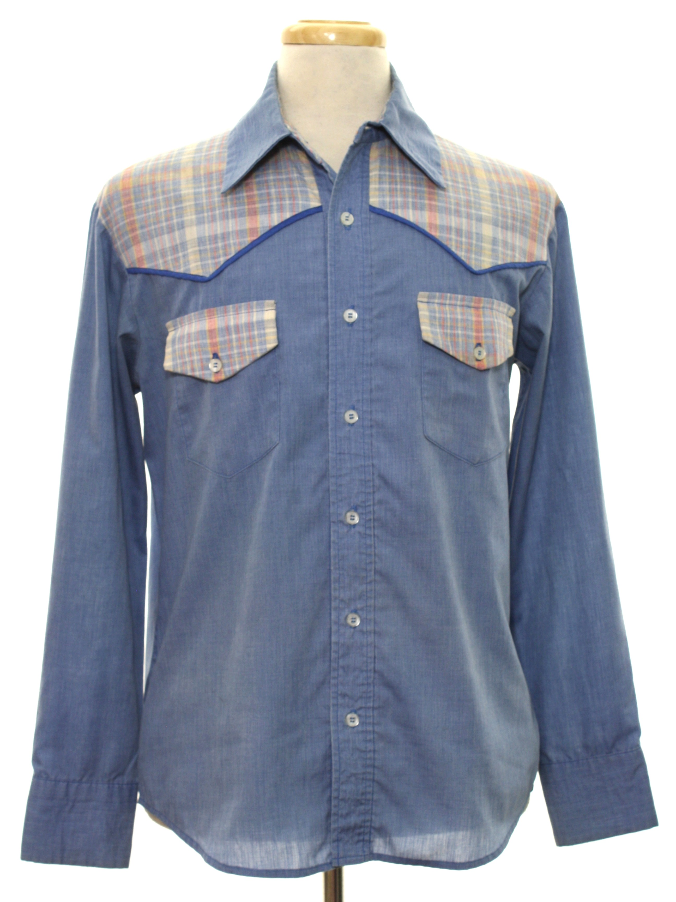 Seventies home sewn western shirt late 70s home sewn for Mens shirts with cufflink holes