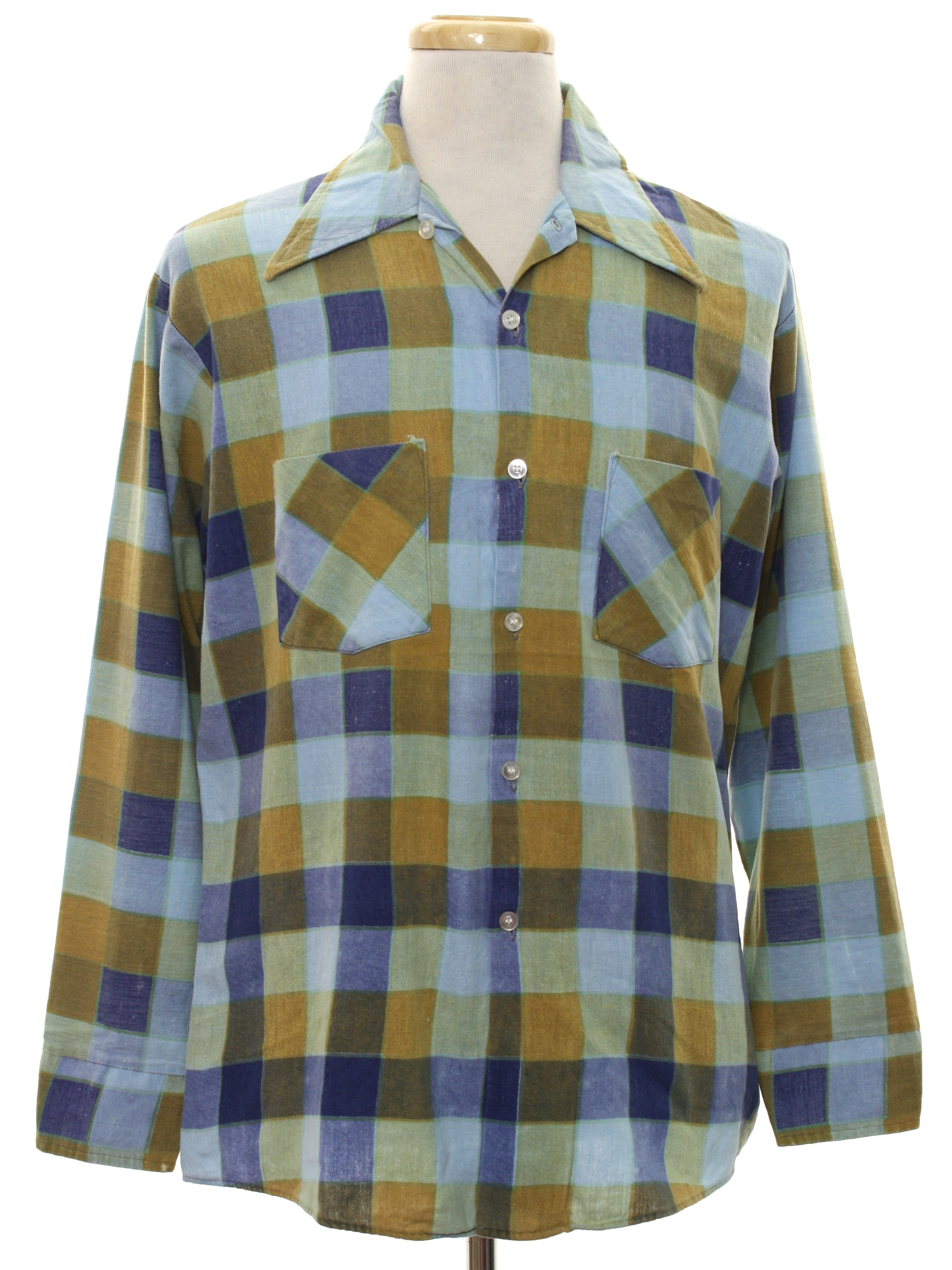 1960s vintage shirt 60s mohawk mens light blue for Cotton polyester flannel shirts
