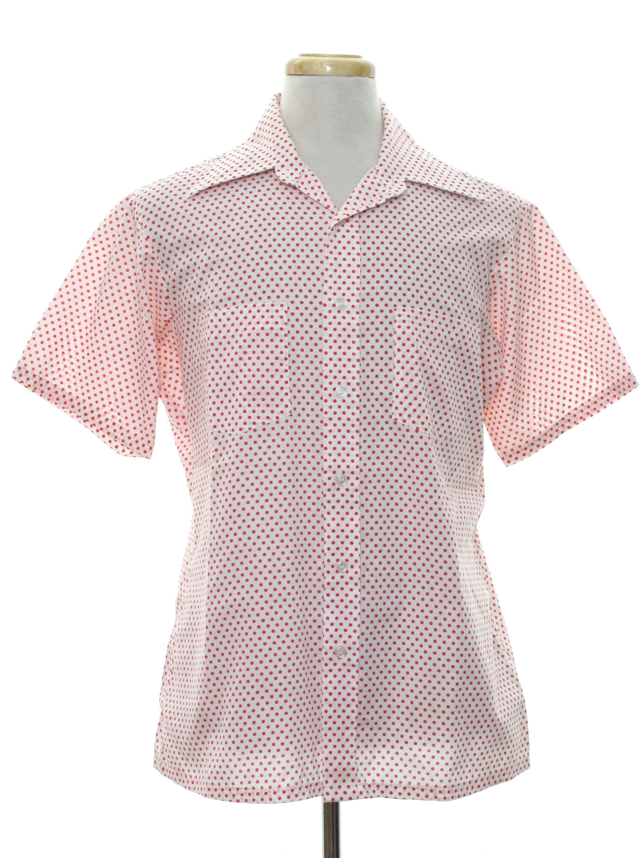 70 39 s van heusen shirt 70s van heusen mens white with for Button up collared sport shirts