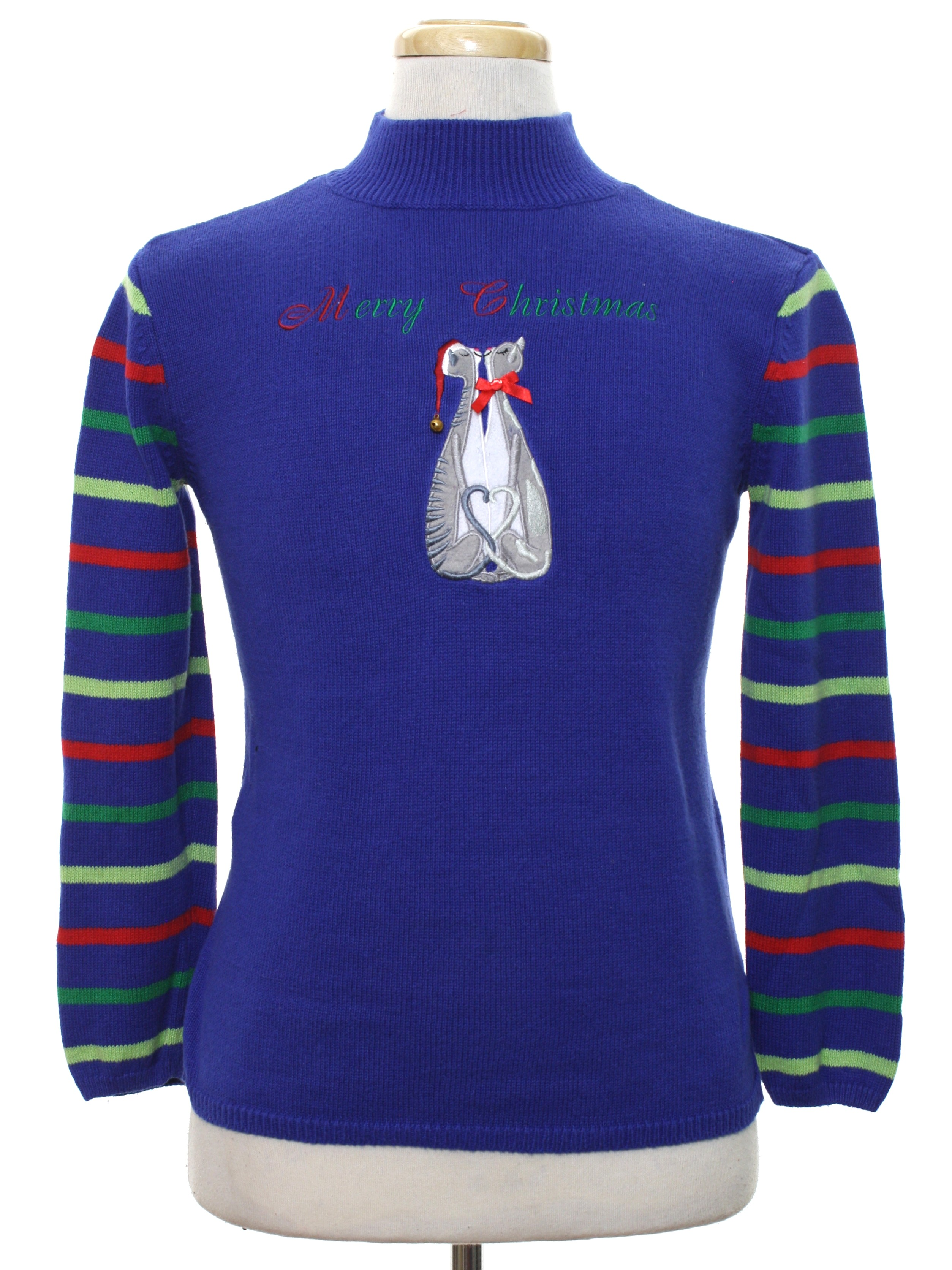 Womens Cat-Tastic Ugly Christmas Sweater: -Merry and Bright- Womens ...