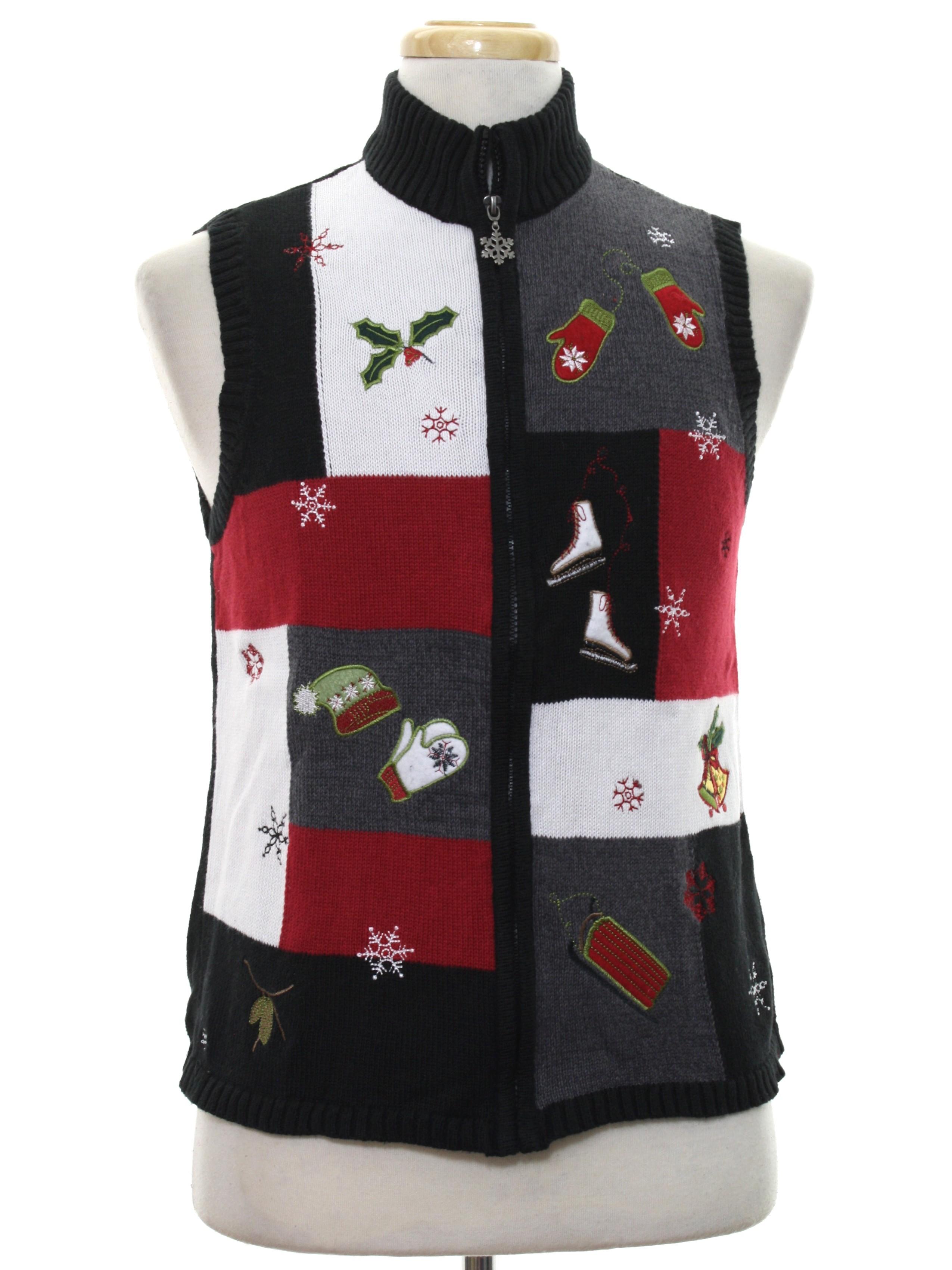 womens ugly christmas sweater vest breckenridge womens black background cotton ramie blend zip front ugly christmas sweater vest with ribbed knit standup - White Christmas Sweater