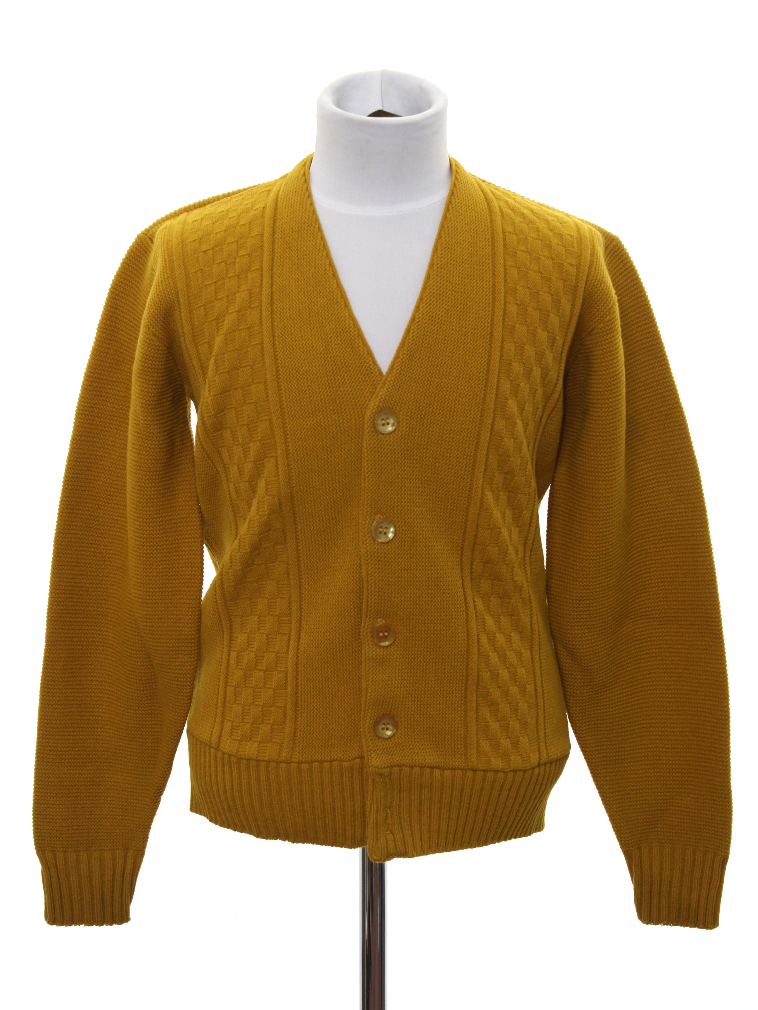Retro 60s Caridgan Sweater 60s Missing Label Boys Mustard Yellow
