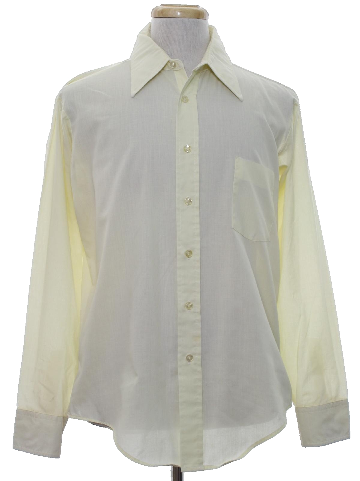 Seventies vintage shirt 70s manhattan mens pale yellow for Solid color button up shirts
