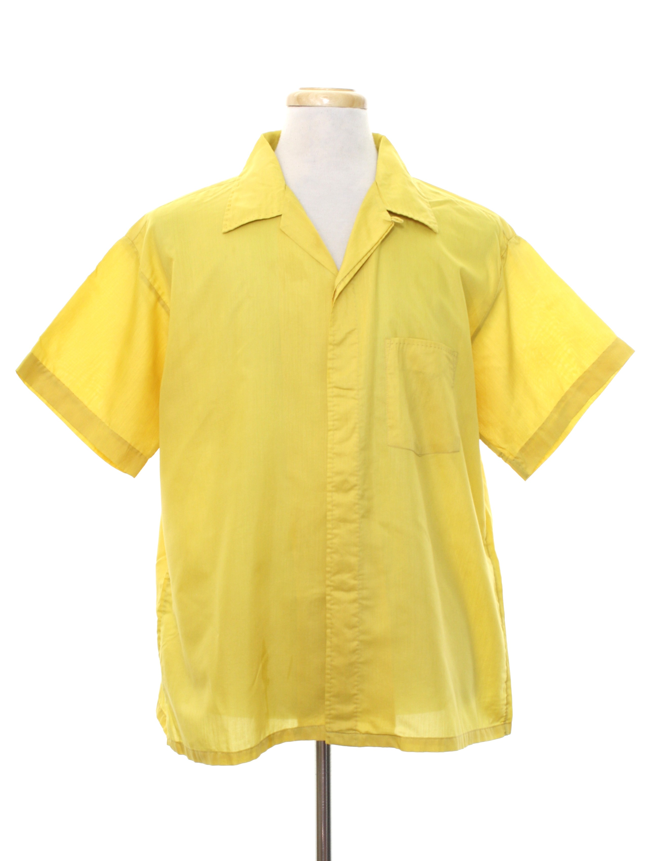 Vintage 1960 39 s shirt 60s green briar mens mustard for Button up collared sport shirts