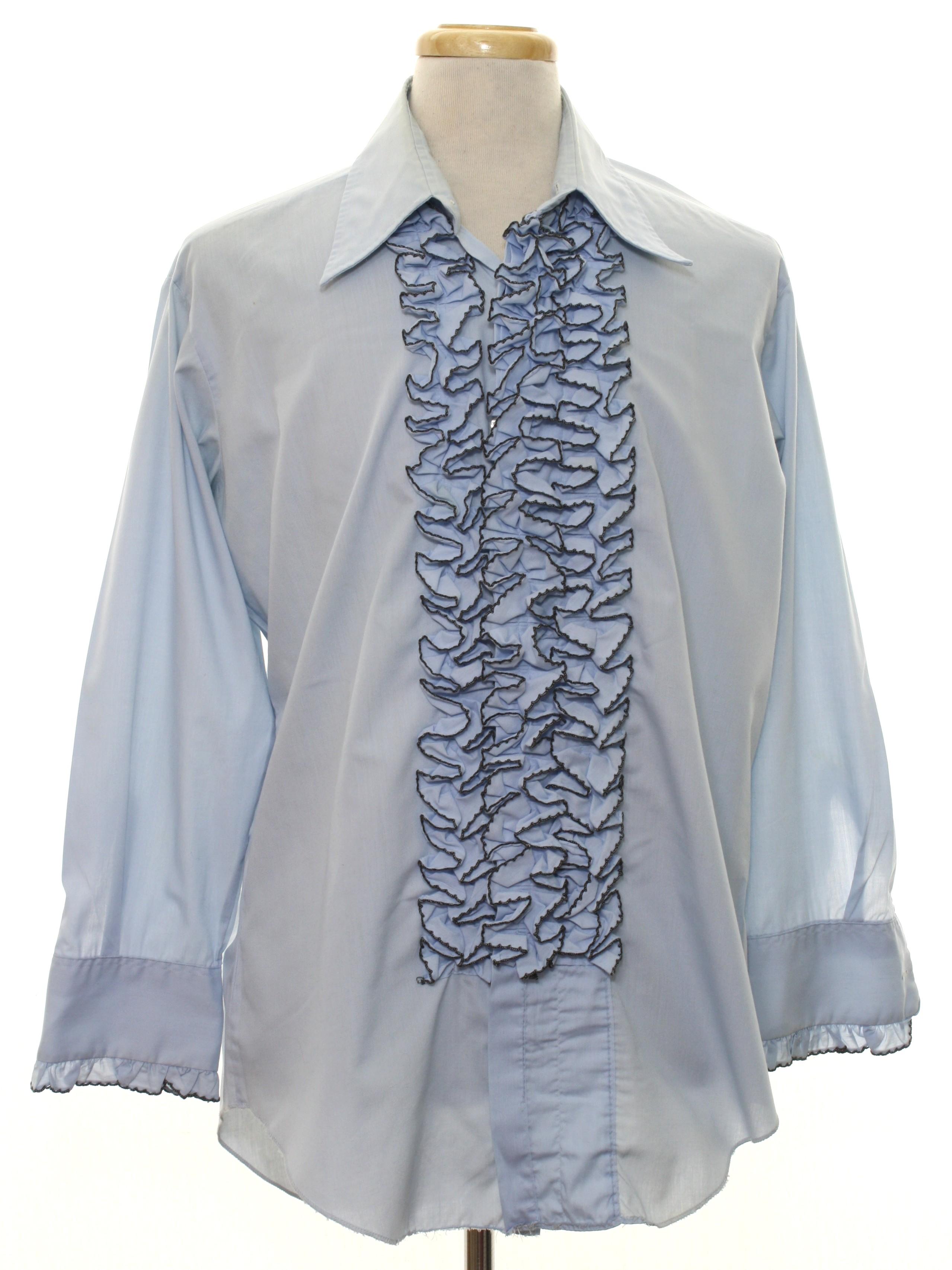 Vintage 70s shirt 70s after six mens light blue for Tuxedo shirt black buttons