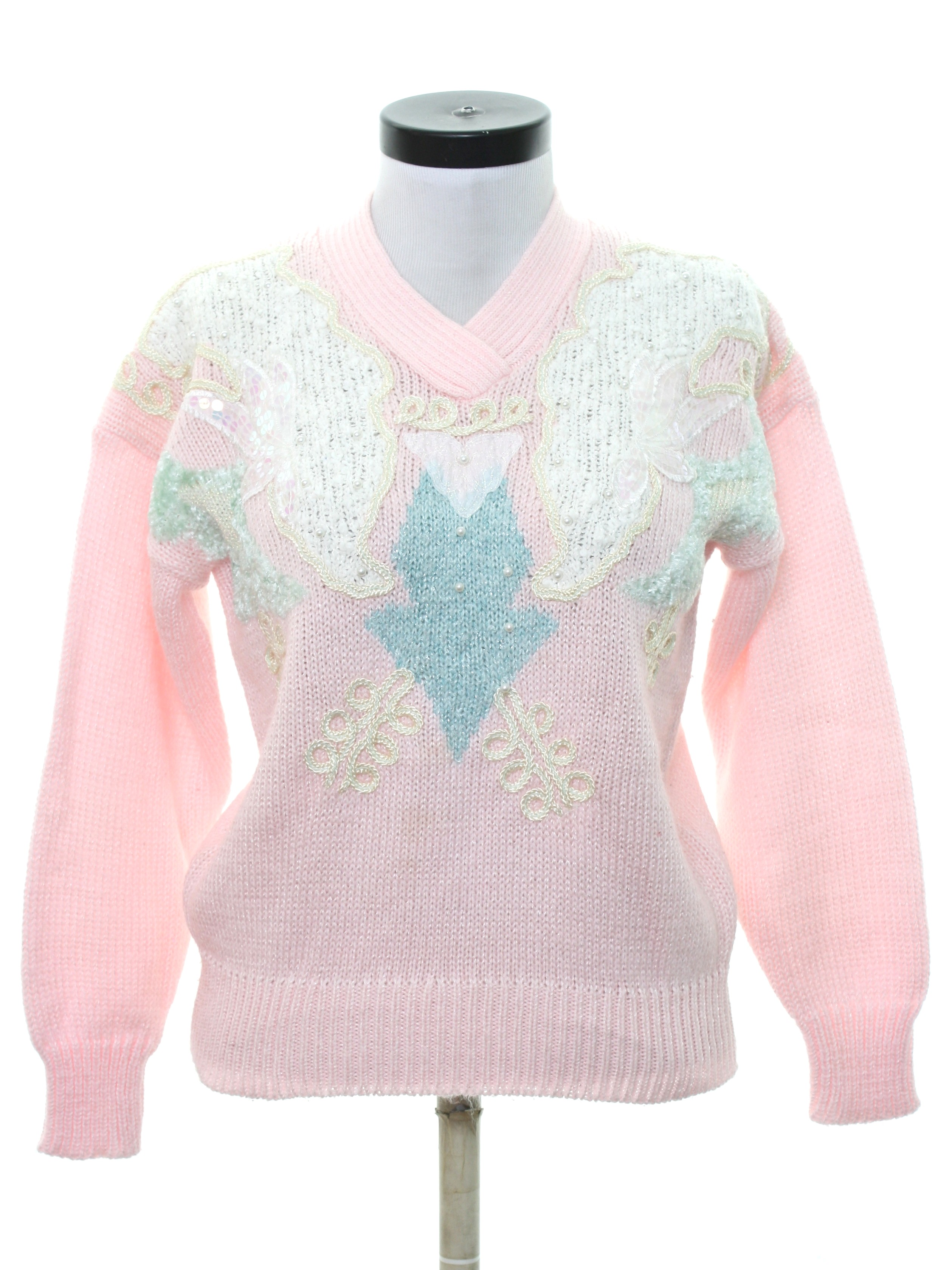 8243c355bf1 Retro 80's Beaded Sweater: 80s -Jaclyn Smith- Womens pink background ...