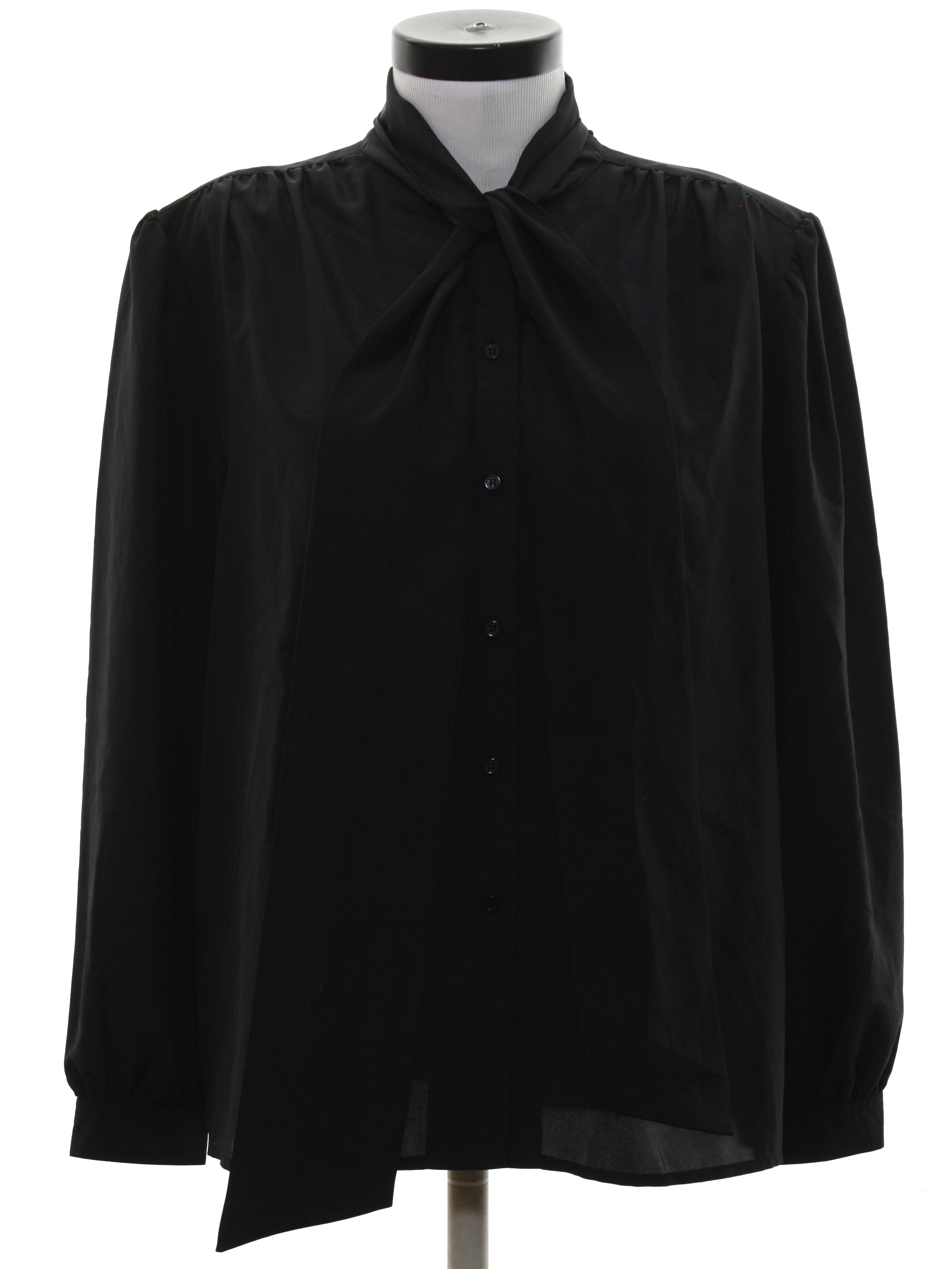 Vintage 1980 39 s shirt 80s neil martin womens black for Polyester button up shirt